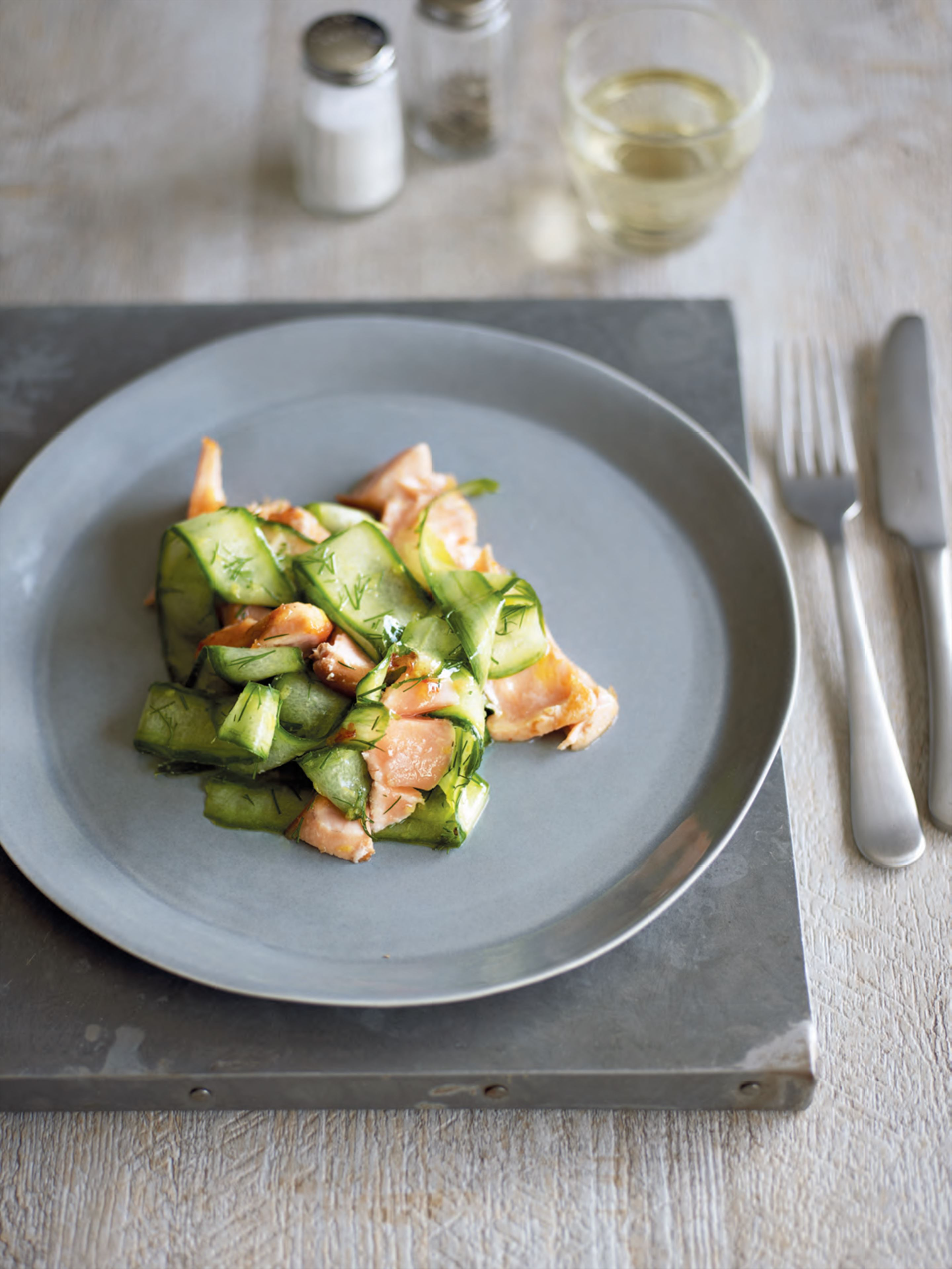 Pan-roasted chilli salmon with cucumber ribbons