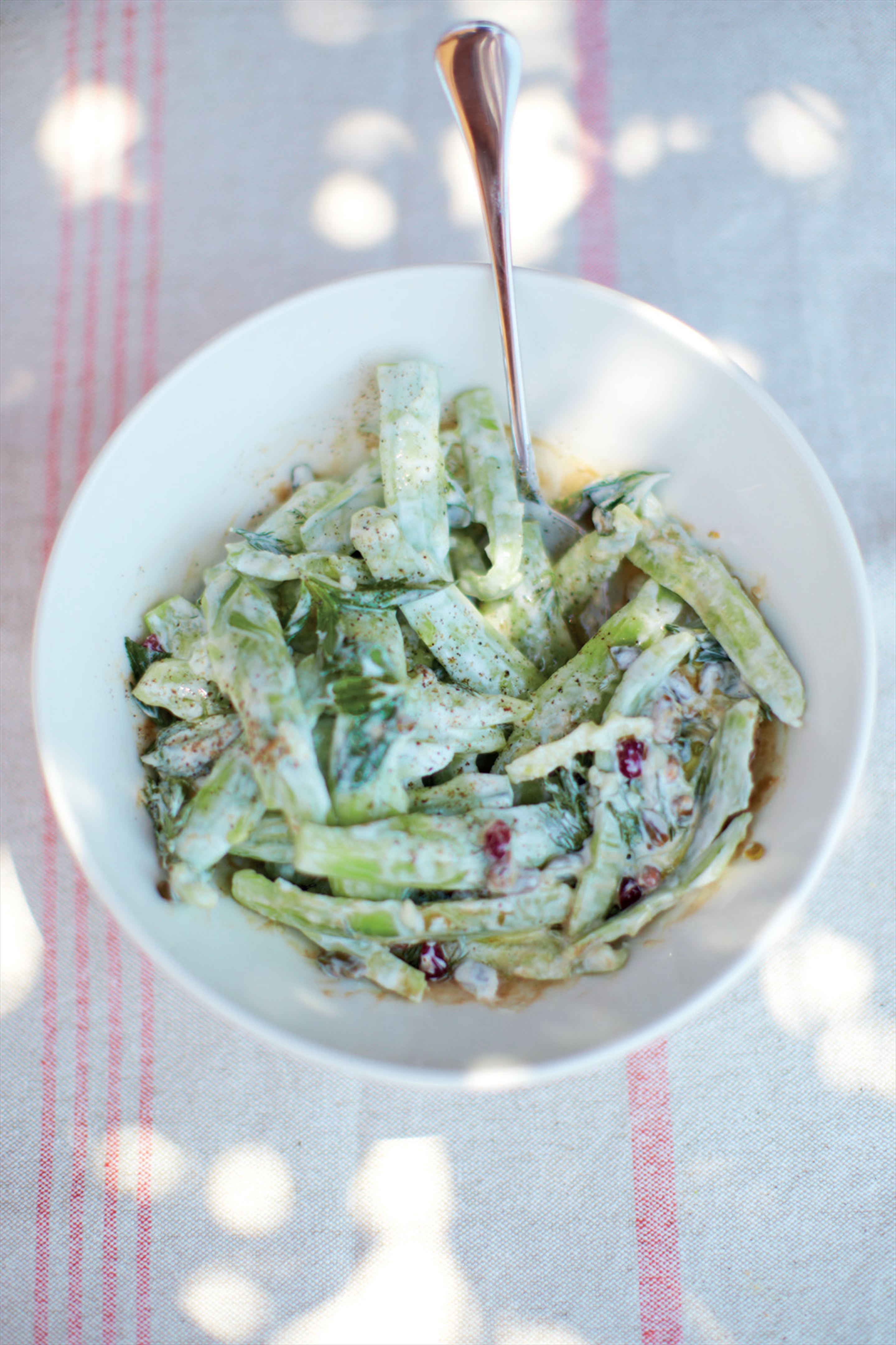 Cucumber, pistachio and yoghurt salad