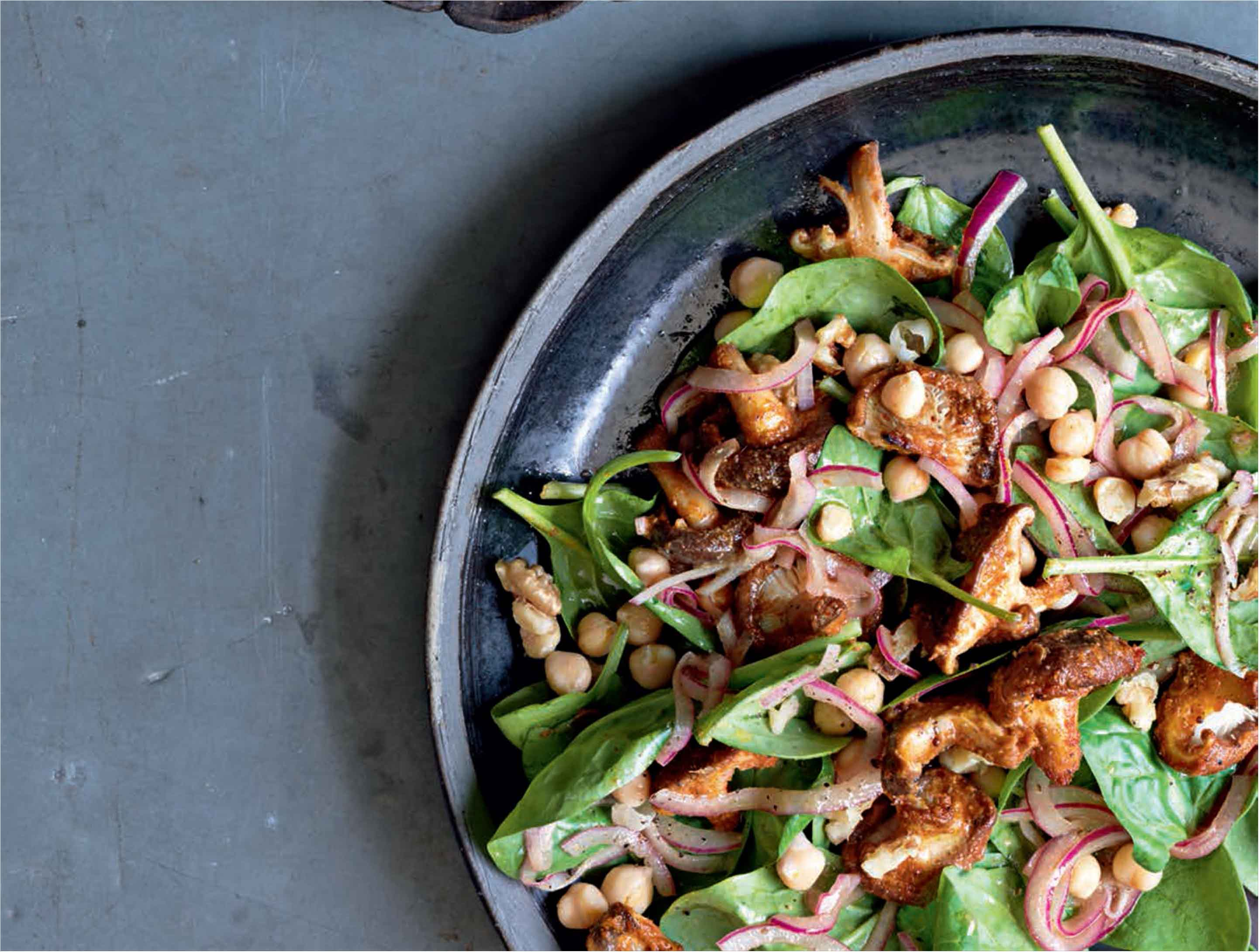 Warm tandoori mushroom, spinach and chickpea salad