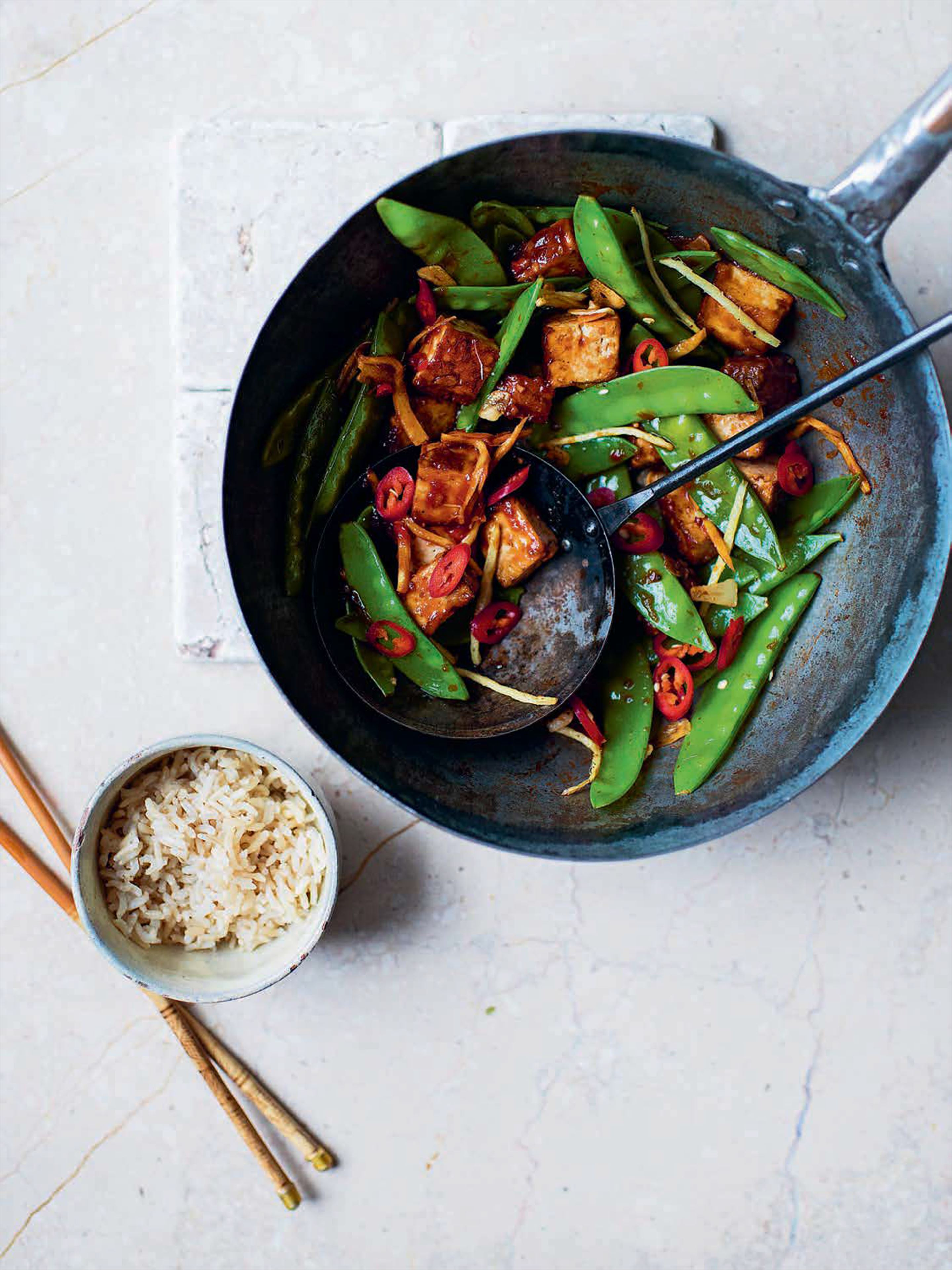 Szechuan tofu and mangetout stir-fry