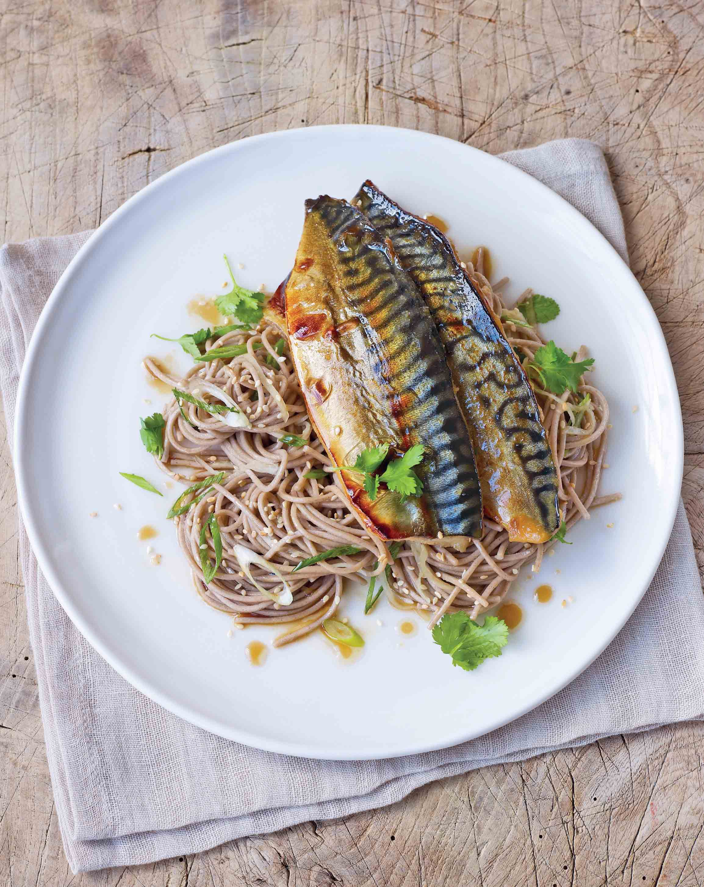 Miso marinated grilled mackerel with soba noodles