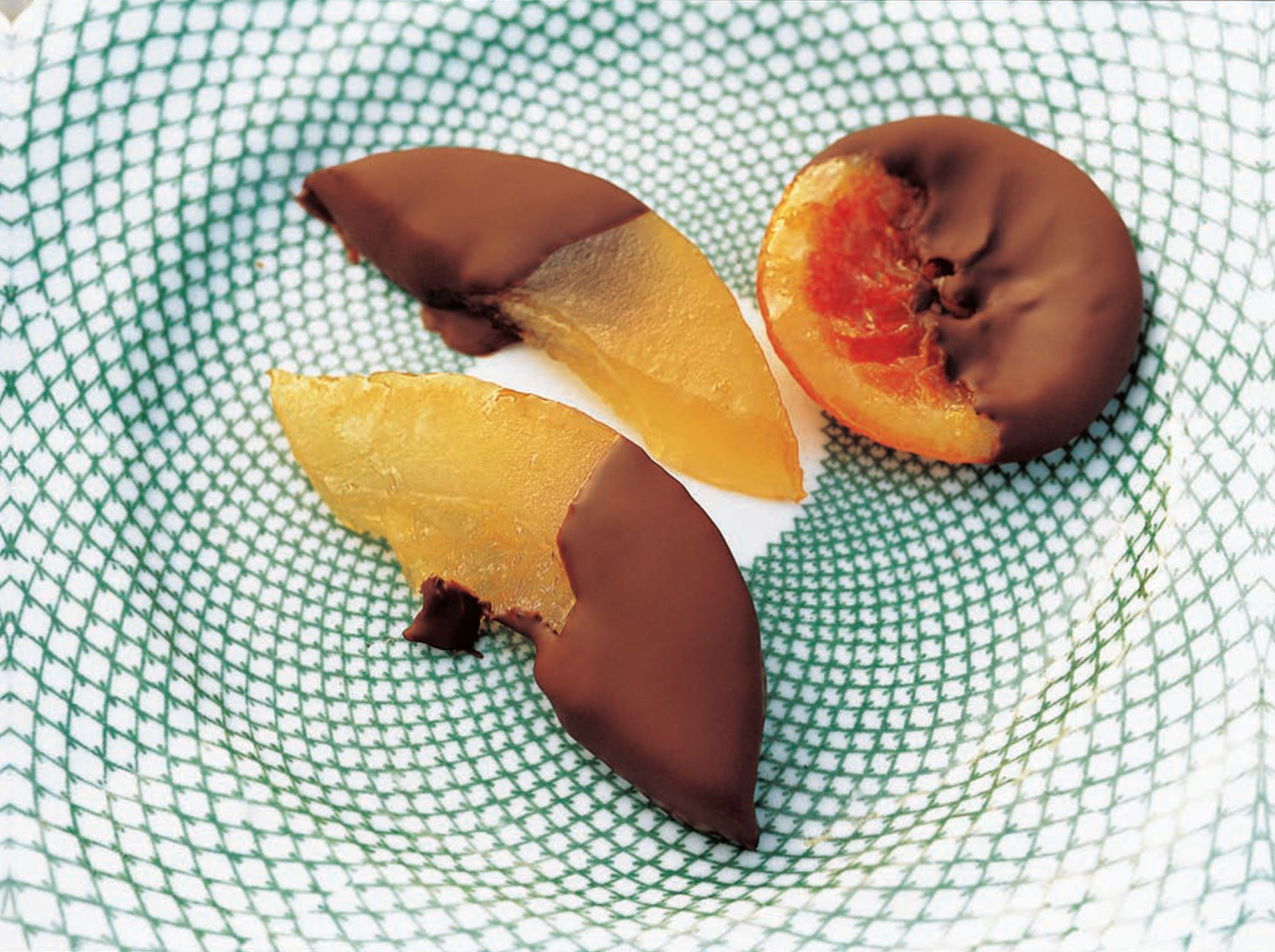 Chocolate-dipped candied cedro and clementines