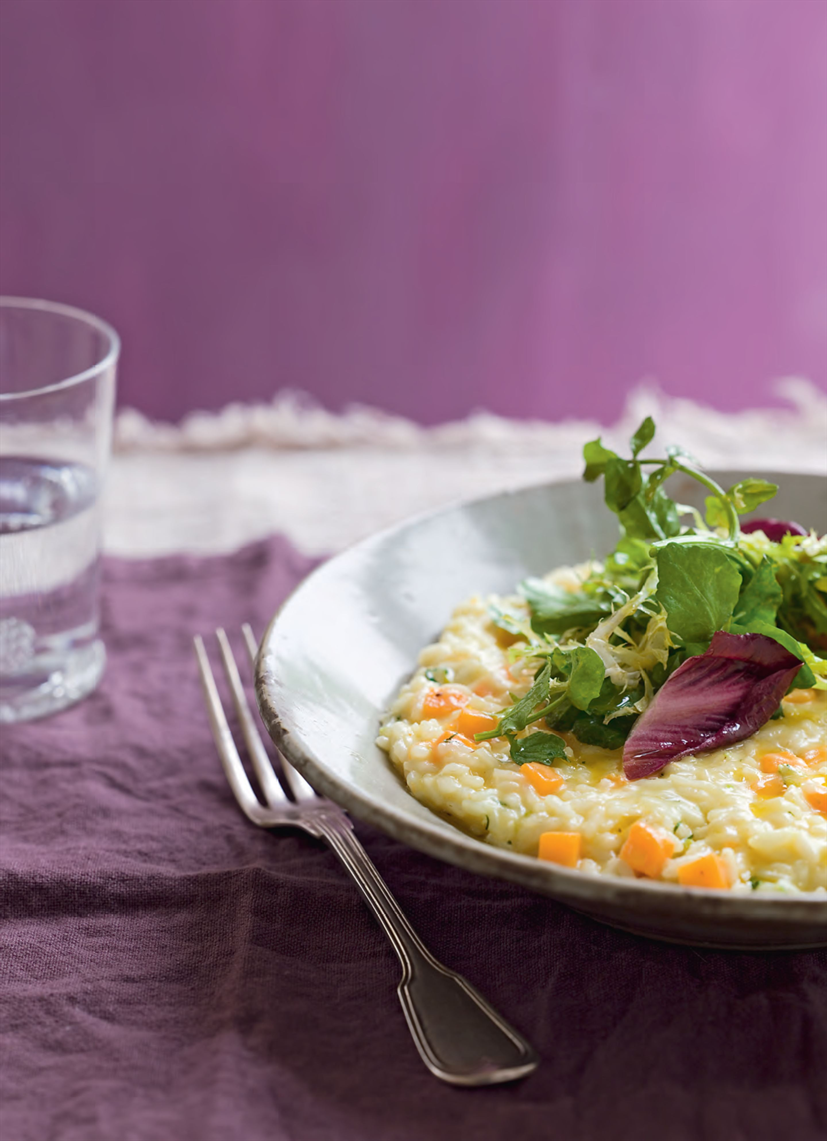 Golden saffron pumpkin risotto with watercress salad