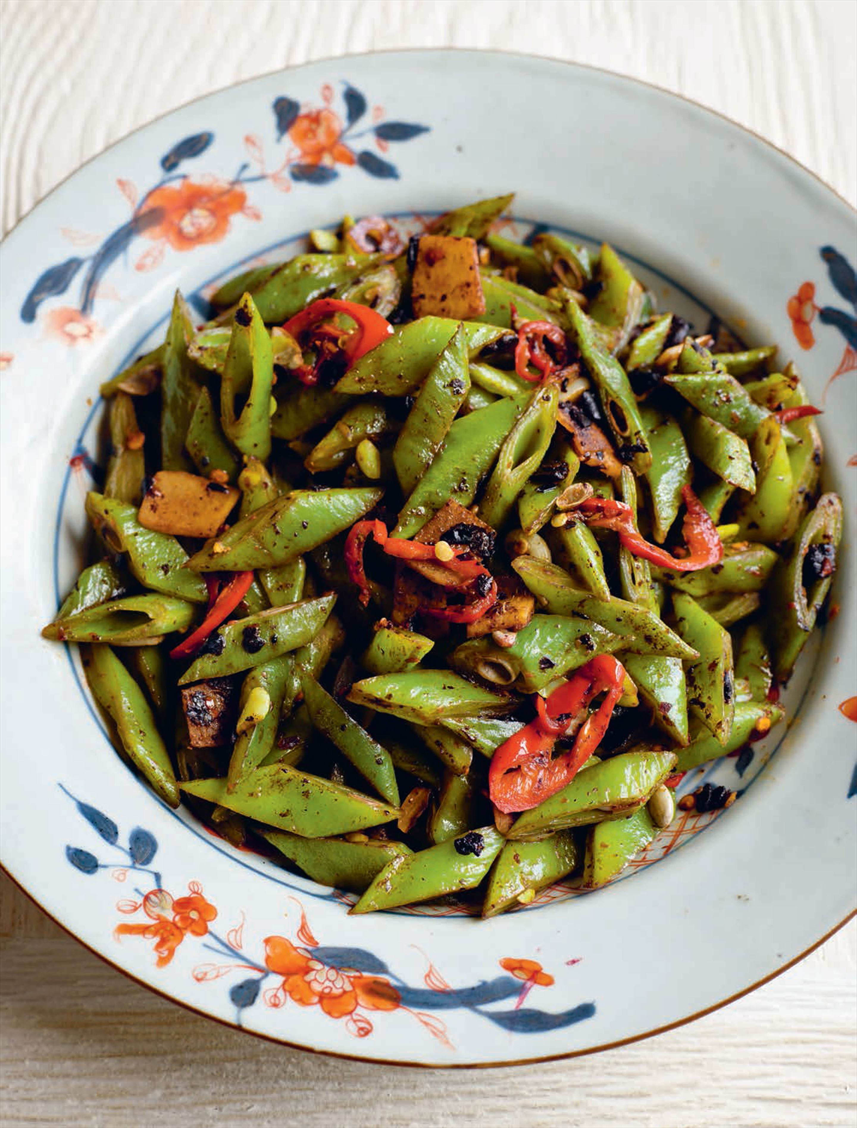 Runner beans with black bean and chilli