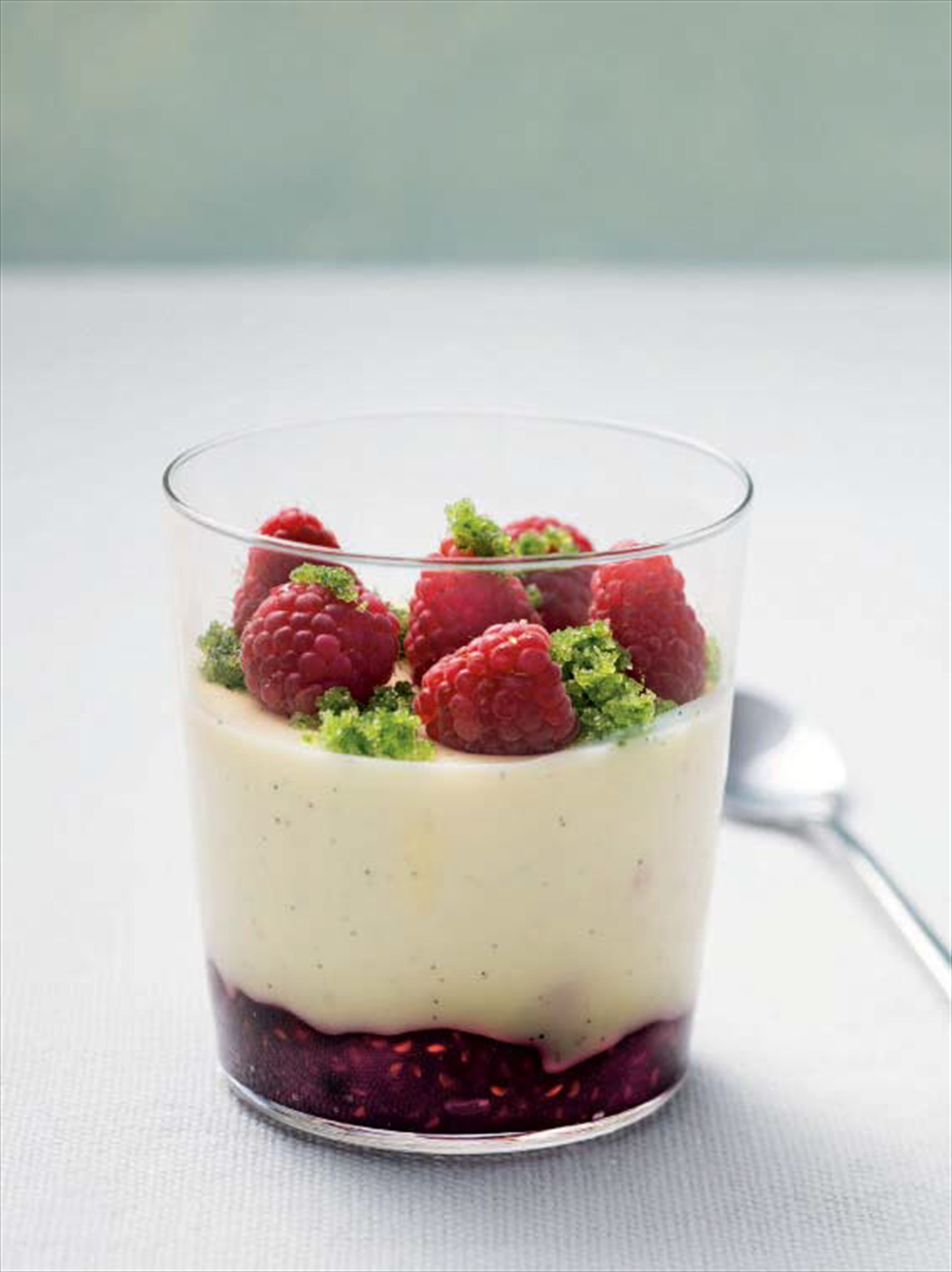 Panna cotta with raspberry jam & basil sugar