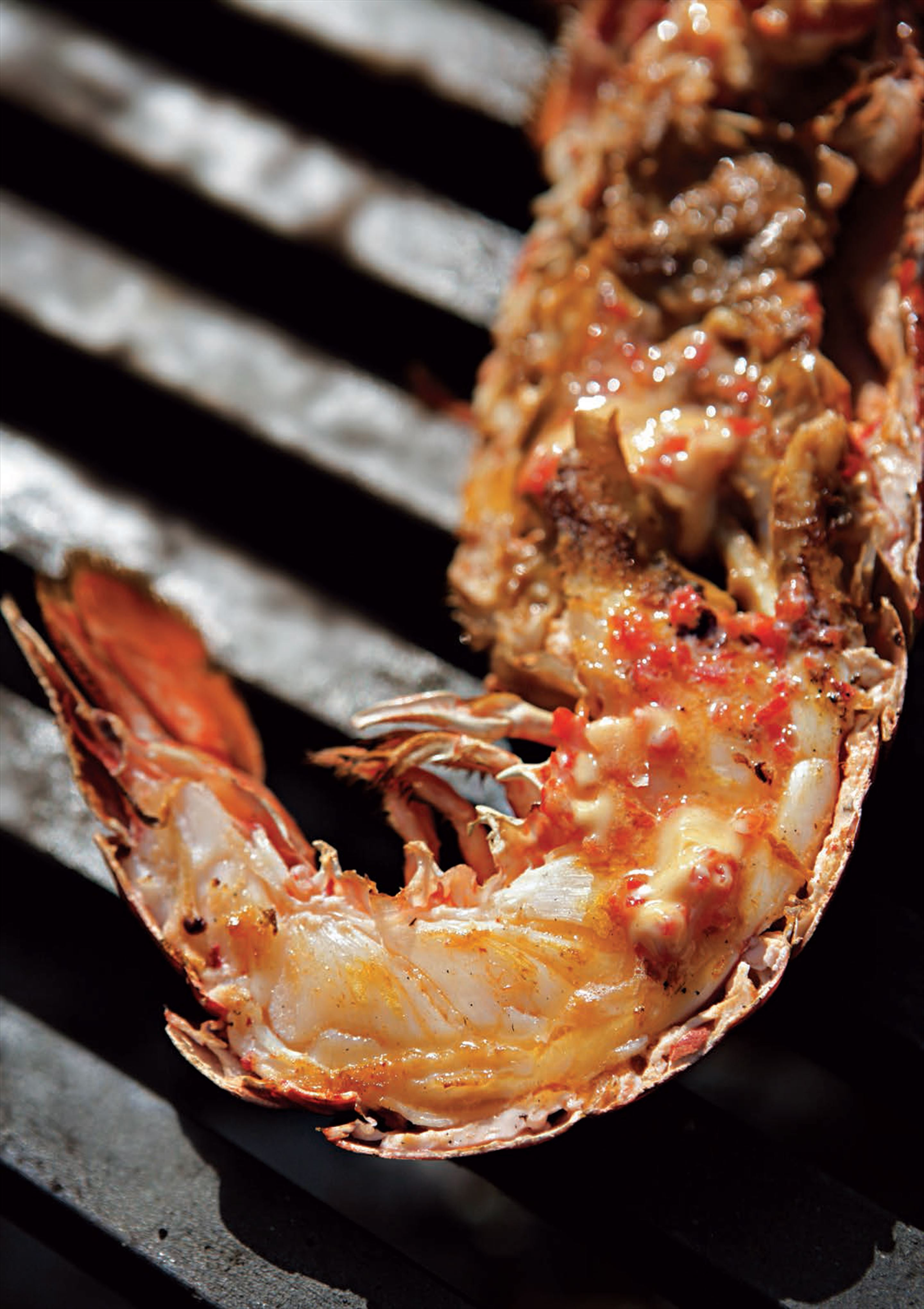 Barbecued lobster with lime and chilli butter