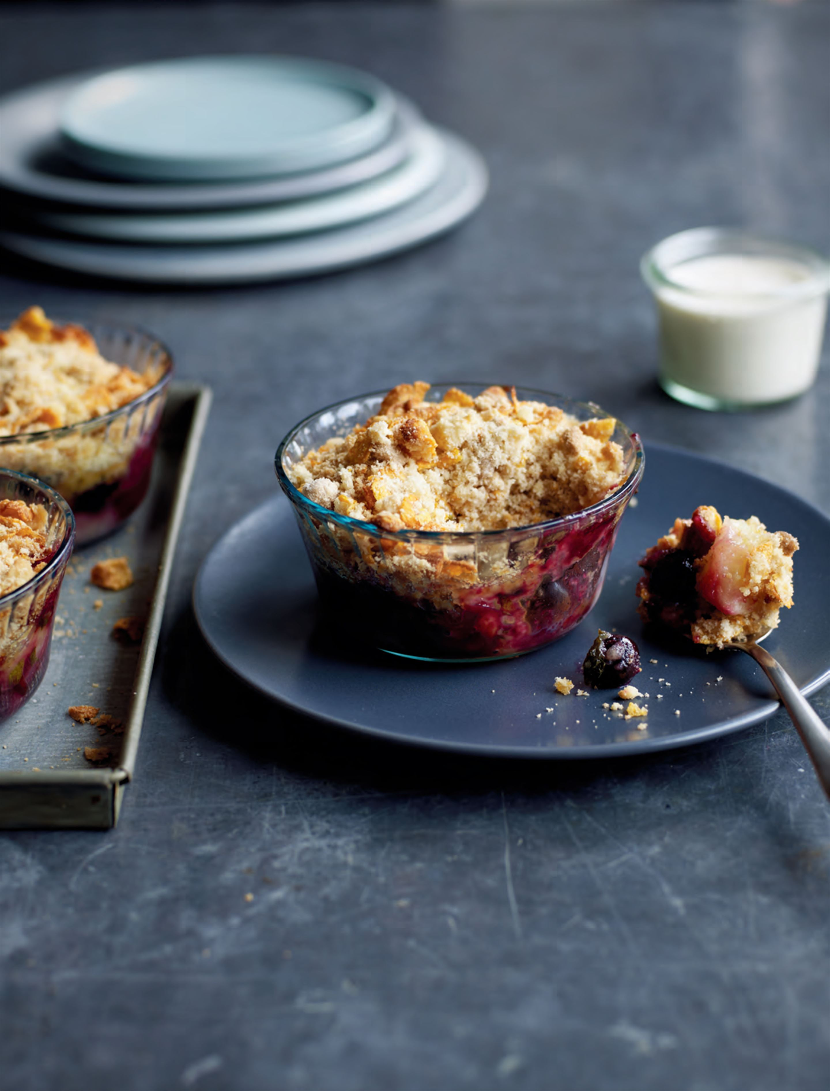 Blueberry, apple & mint crumble with cornflake crumb