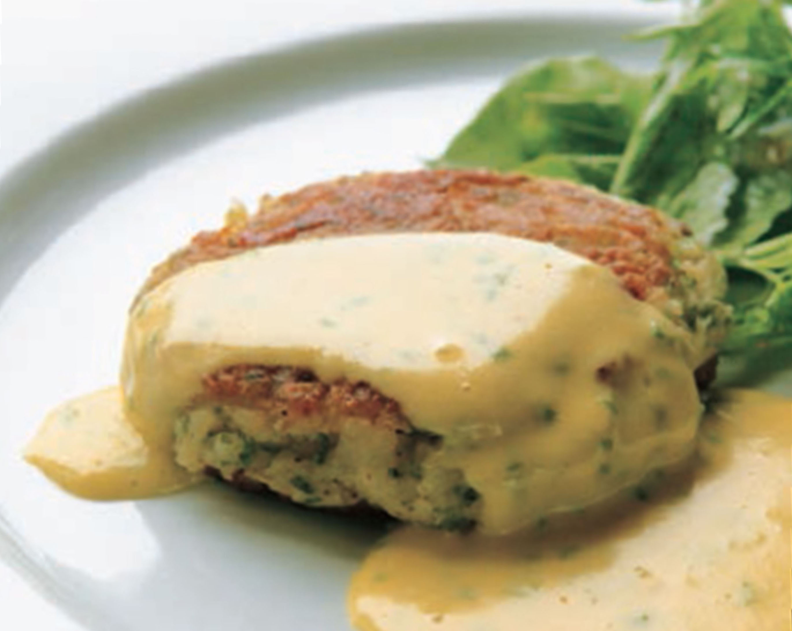 Pike fishcakes with caper sauce