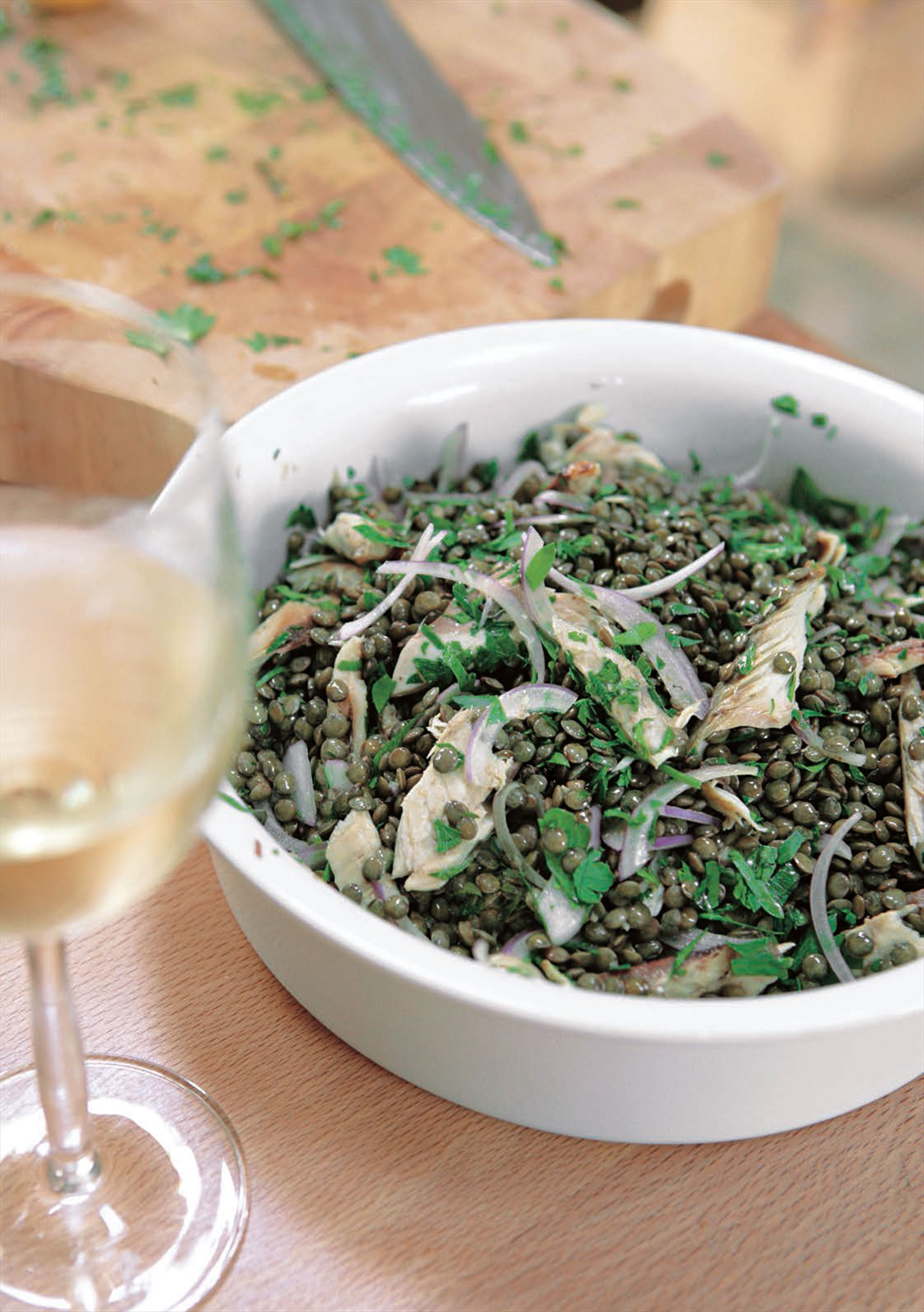 Puy lentil and mackerel salad