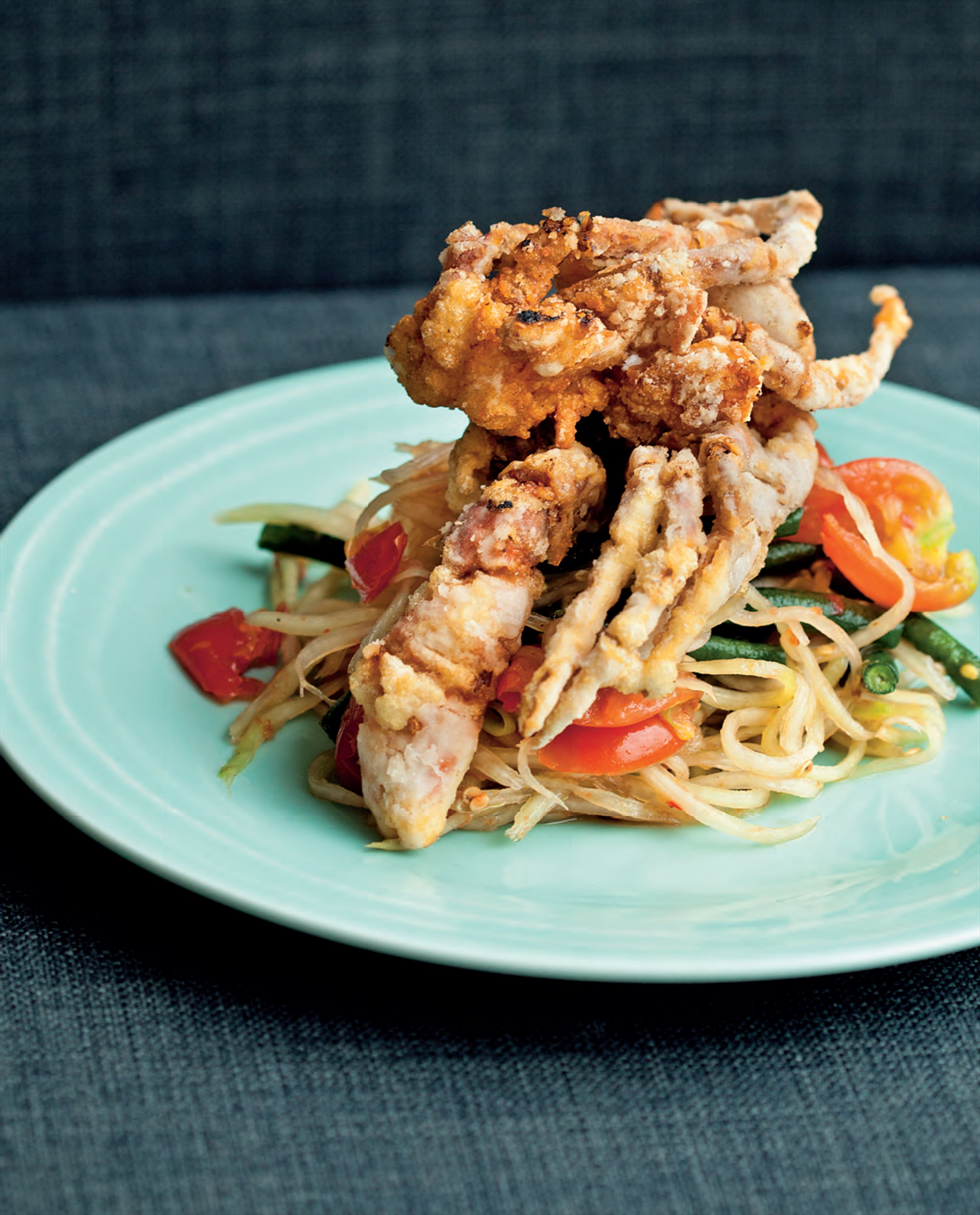 Deep-fried soft shell crab with som tum