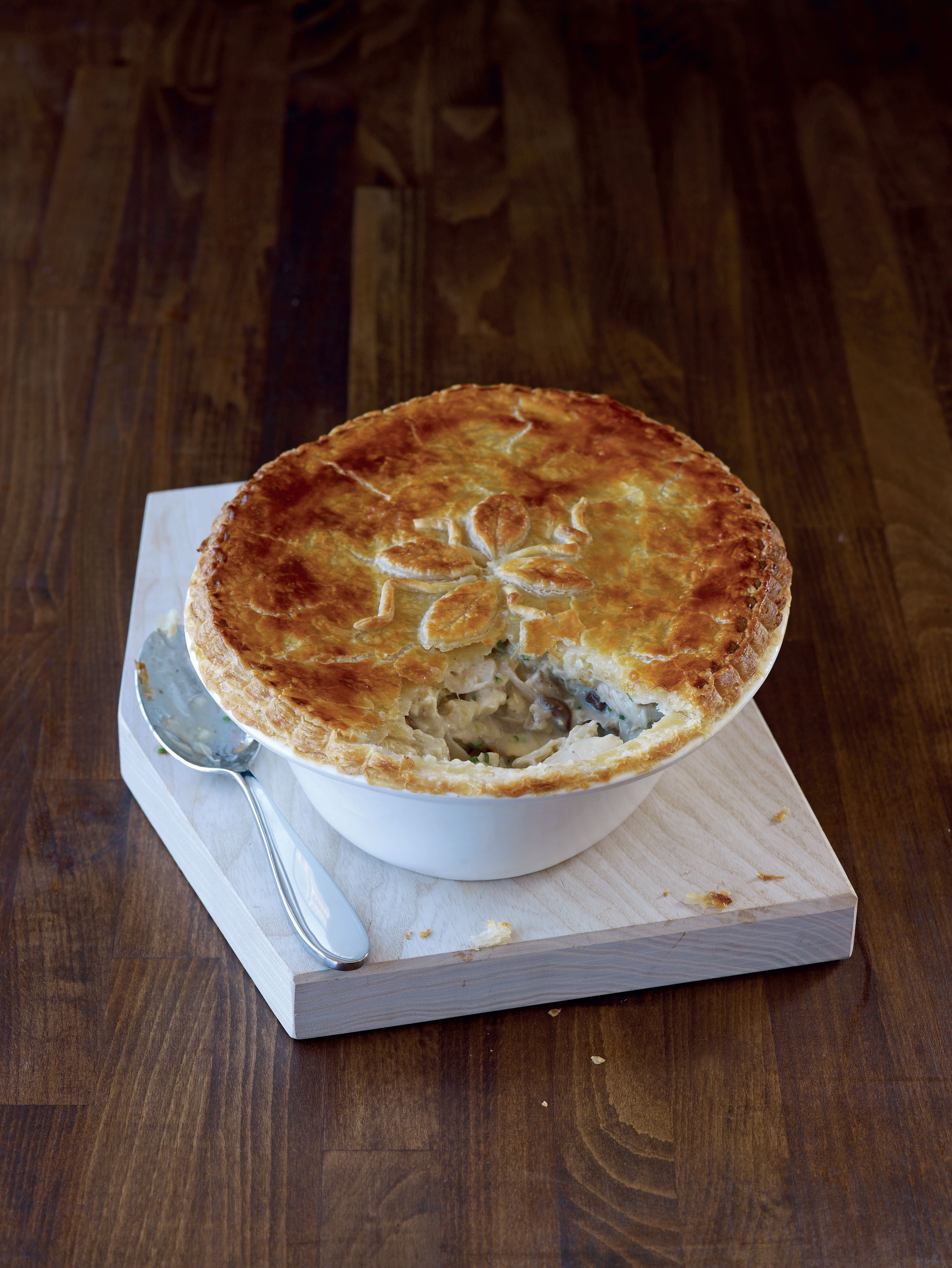 Chicken and wild mushroom pie