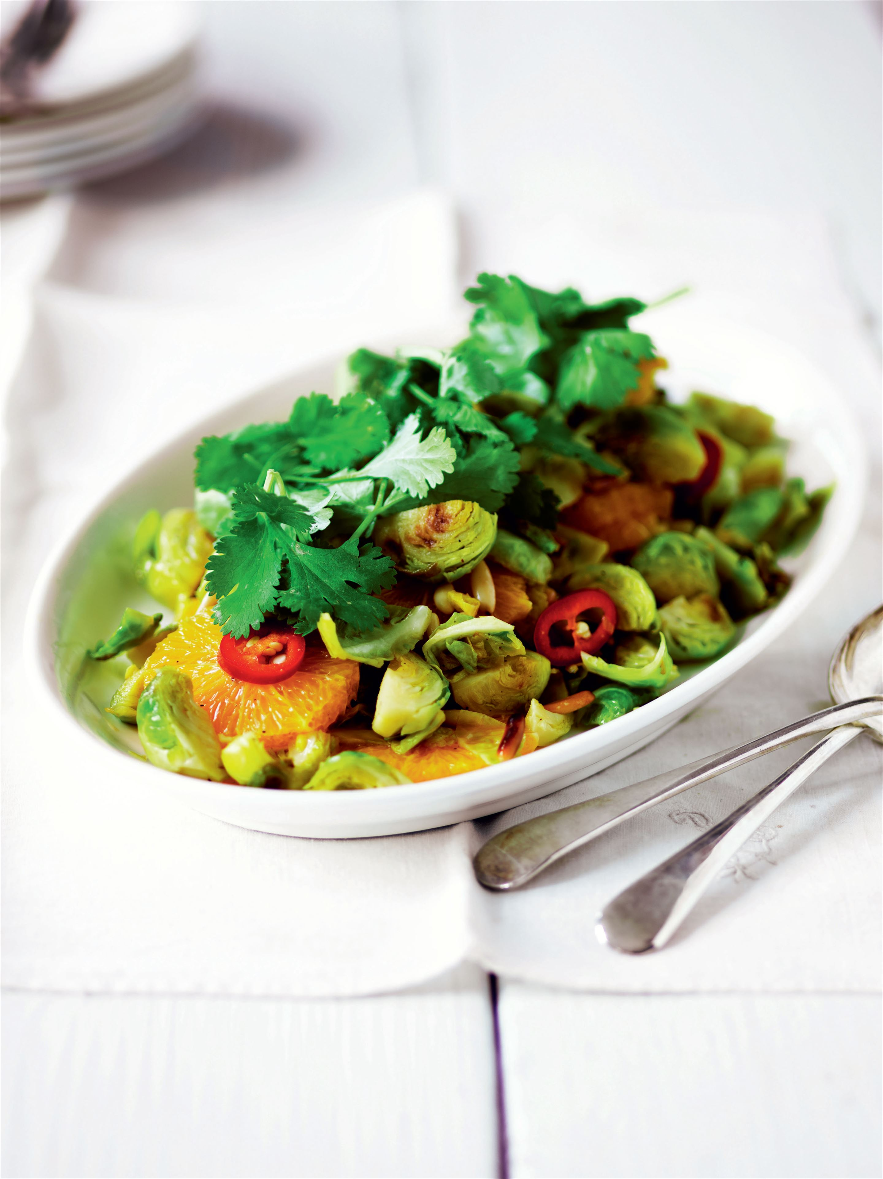Brussels sprouts, chilli and oranges
