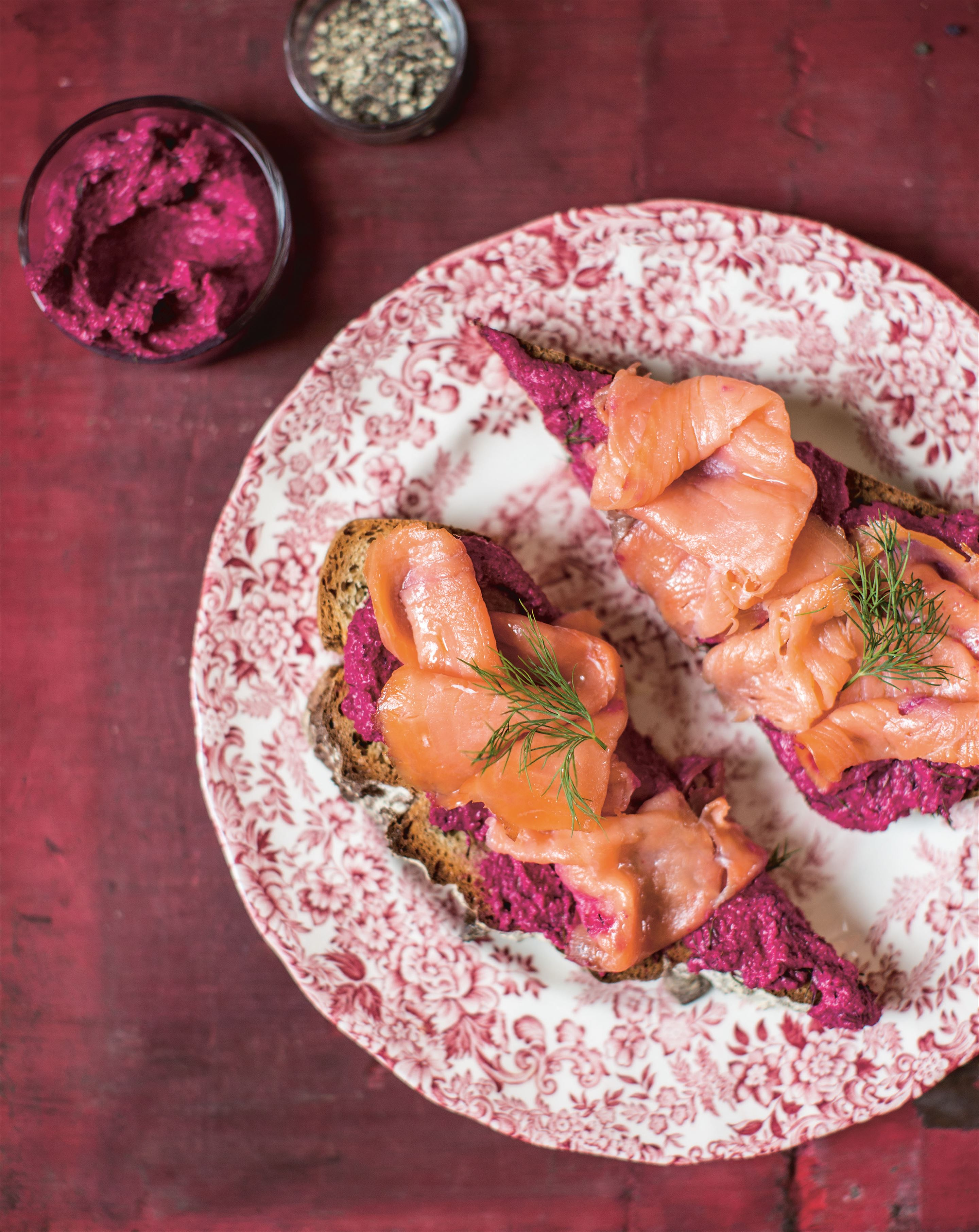 Salmon sandwich with beetroot and walnut paté