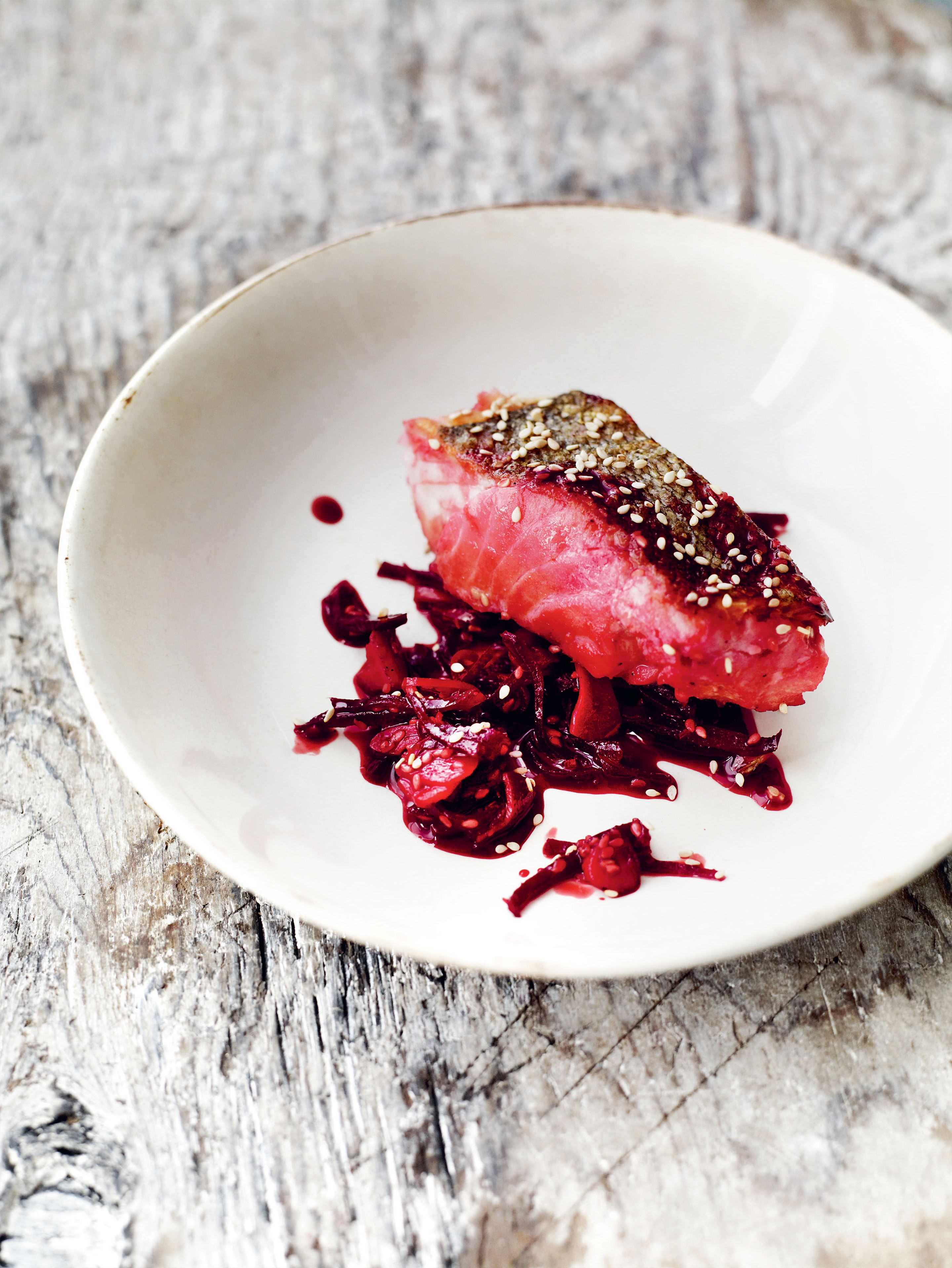 Fried cod with ginger, beetroot, orange & sesame