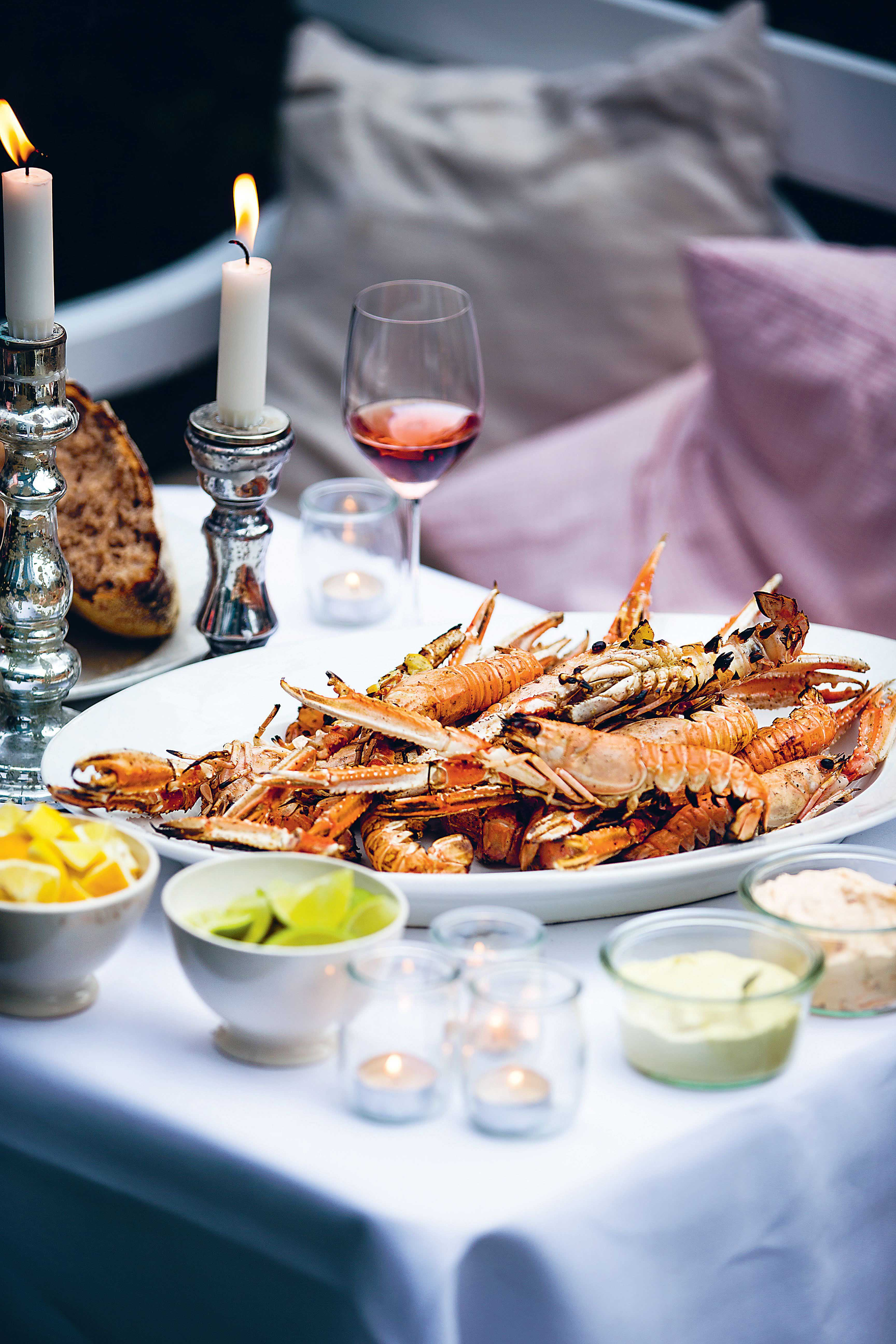 Barbecued langoustines with lemon mayo and chilli cream