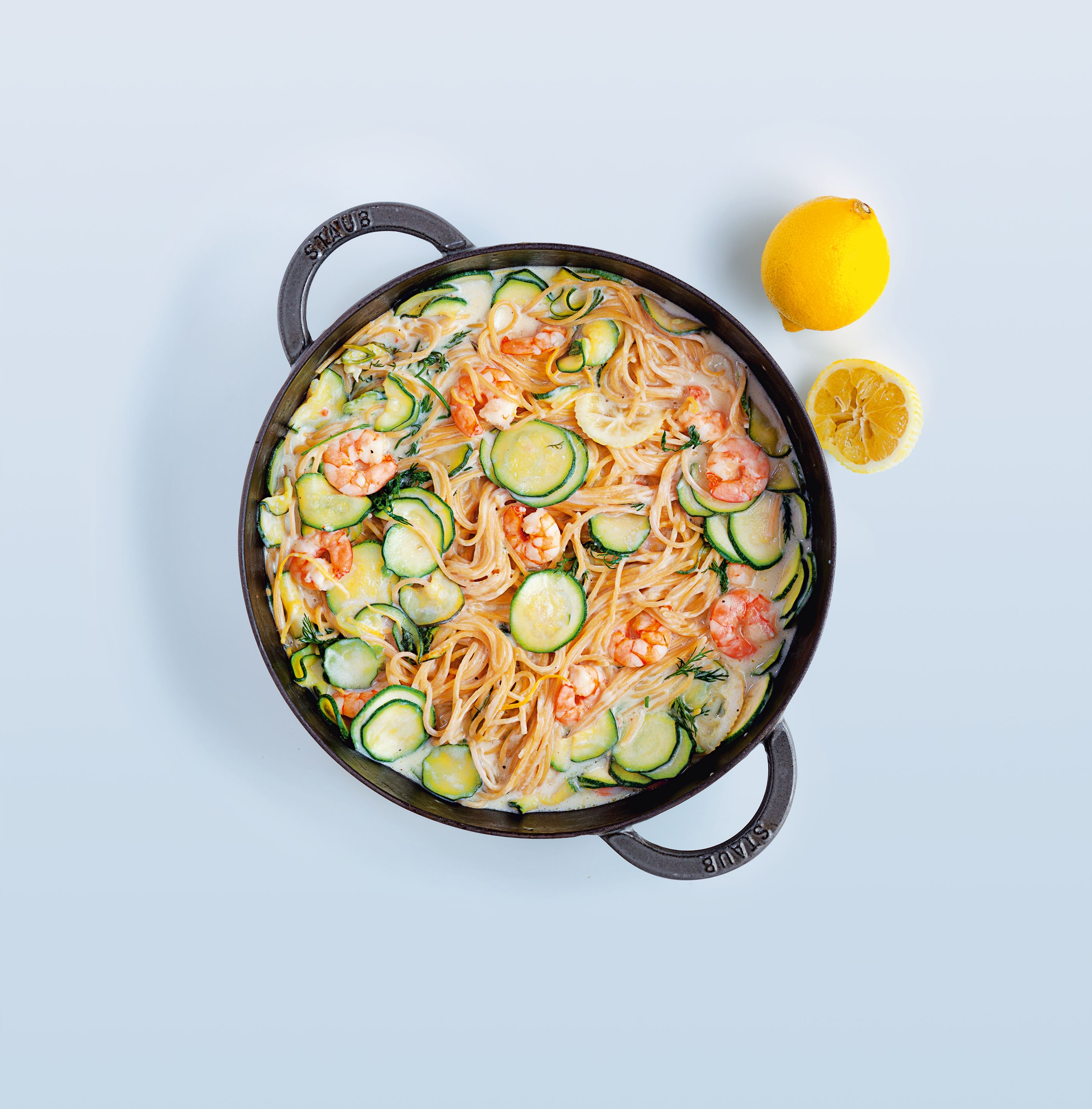 Courgettes and prawns