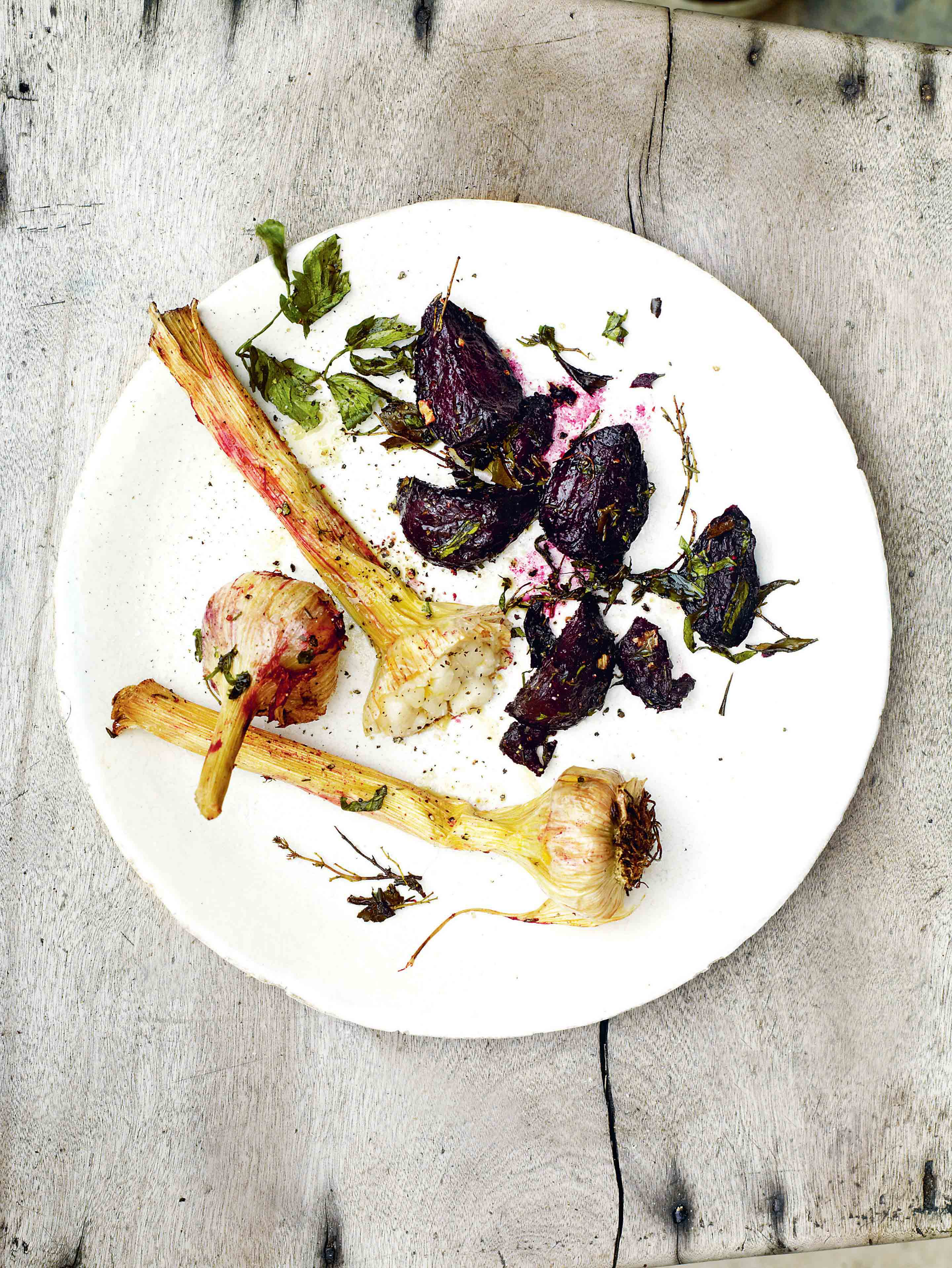 Roast beetroot & wet garlic with bay, lovage & thyme