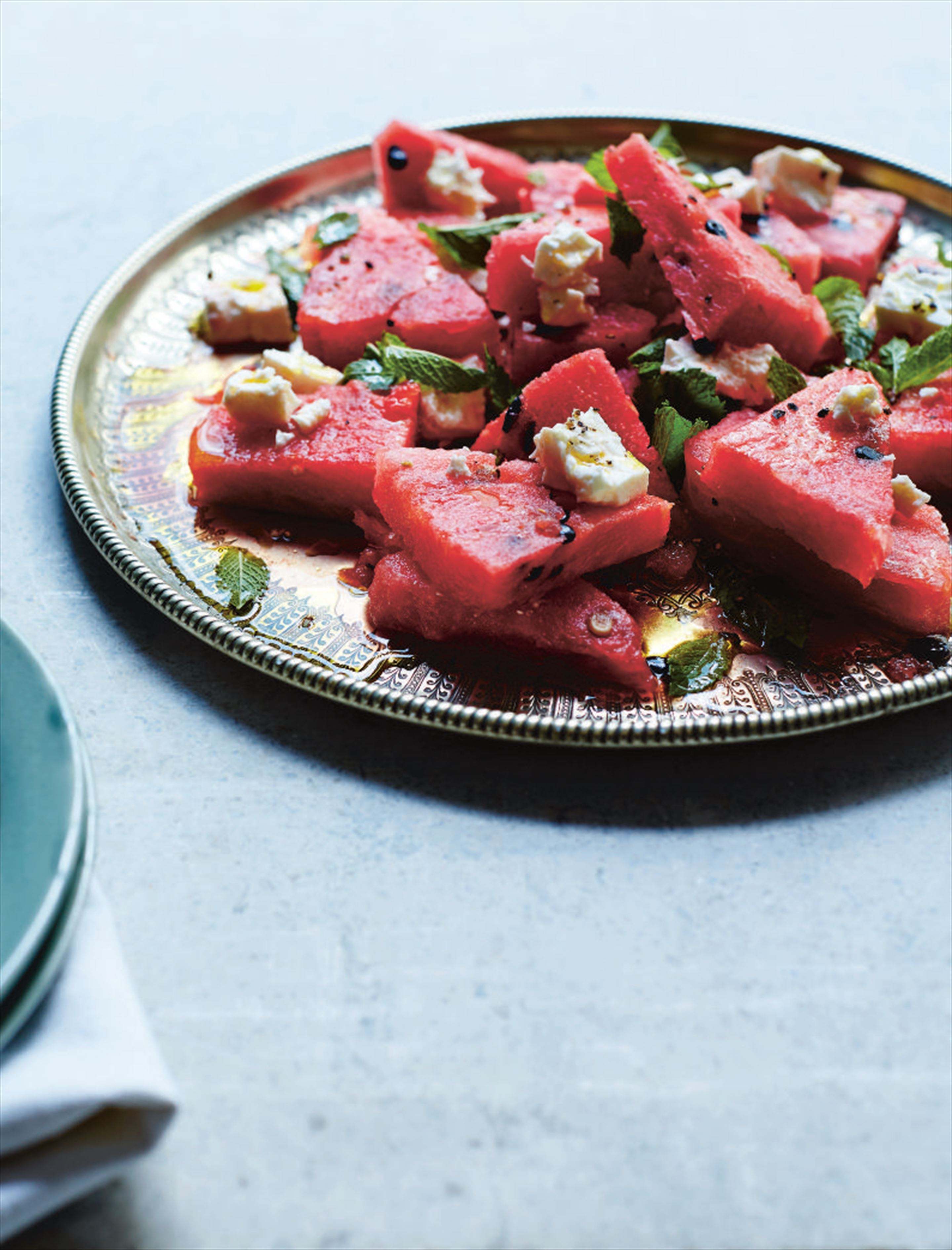 Watermelon, mint and feta salad