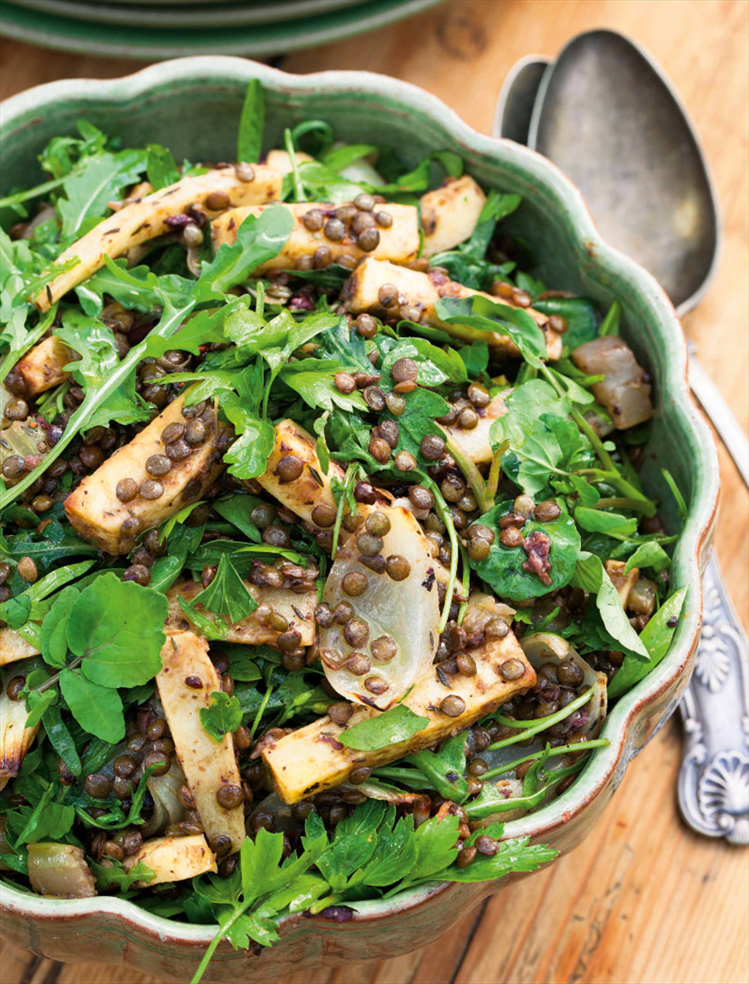 Parsnip, rocket and lentil salad with tapenade dressing