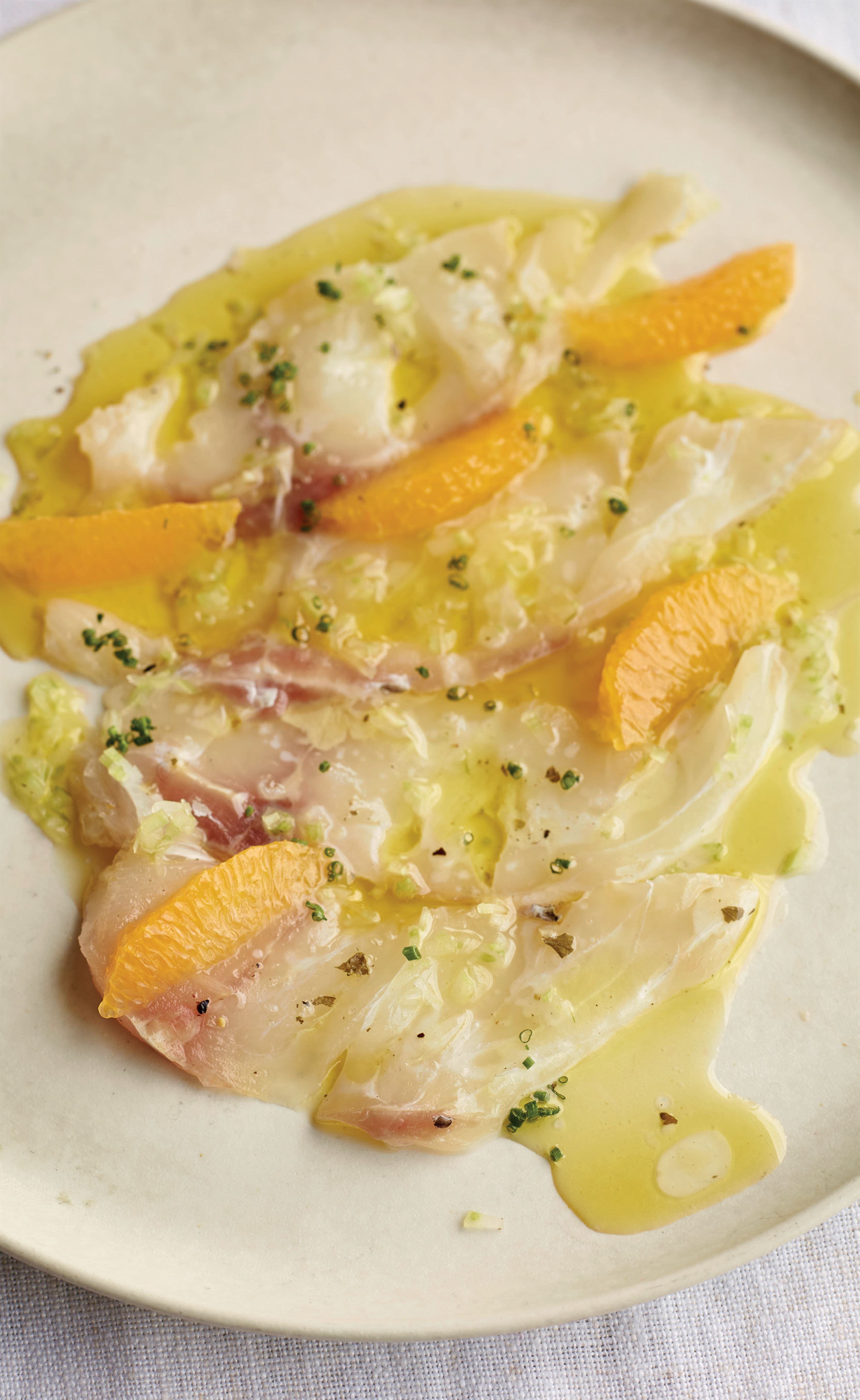 Raw sea bass with citrus and ginger