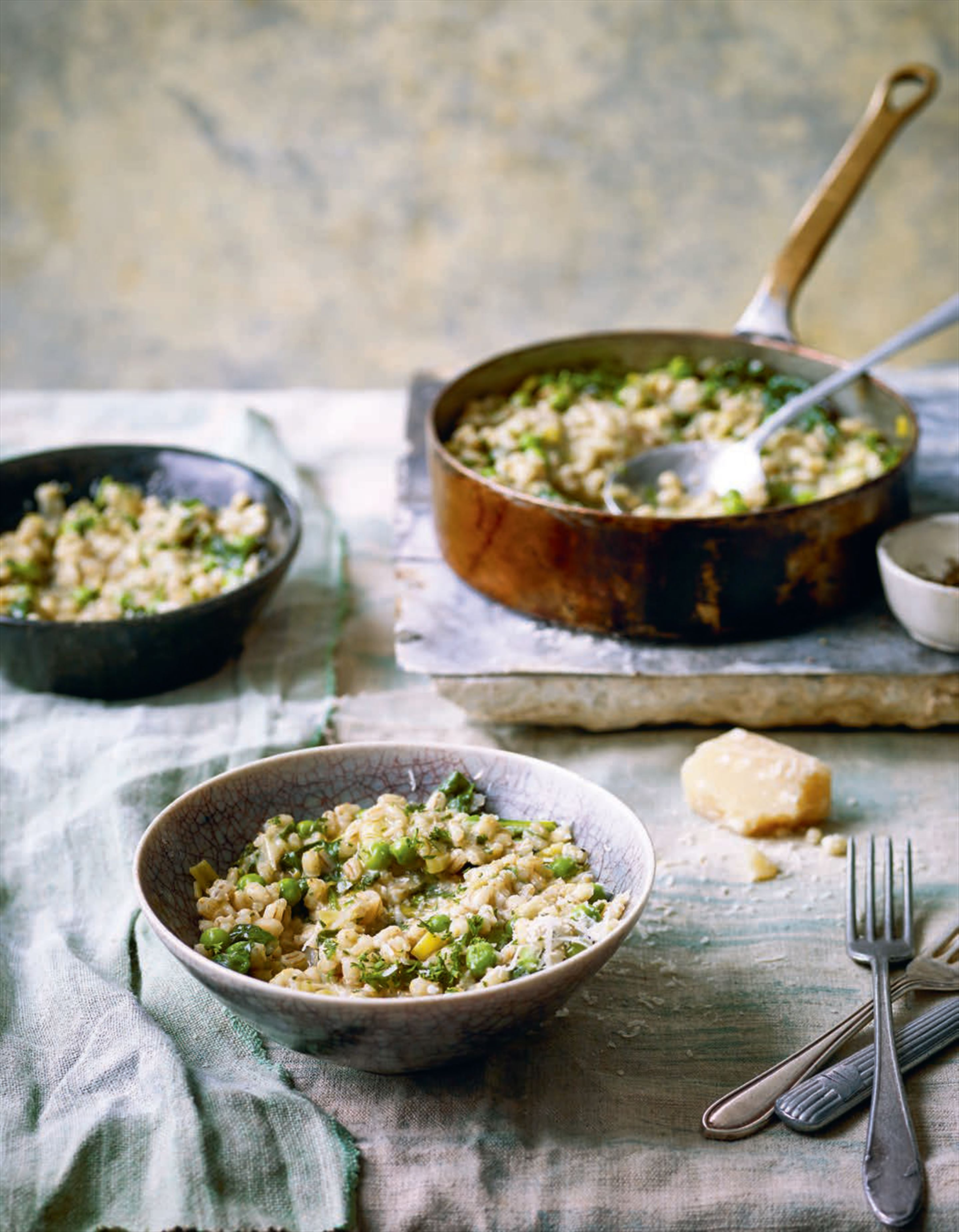 Barley and mustard greens risotto