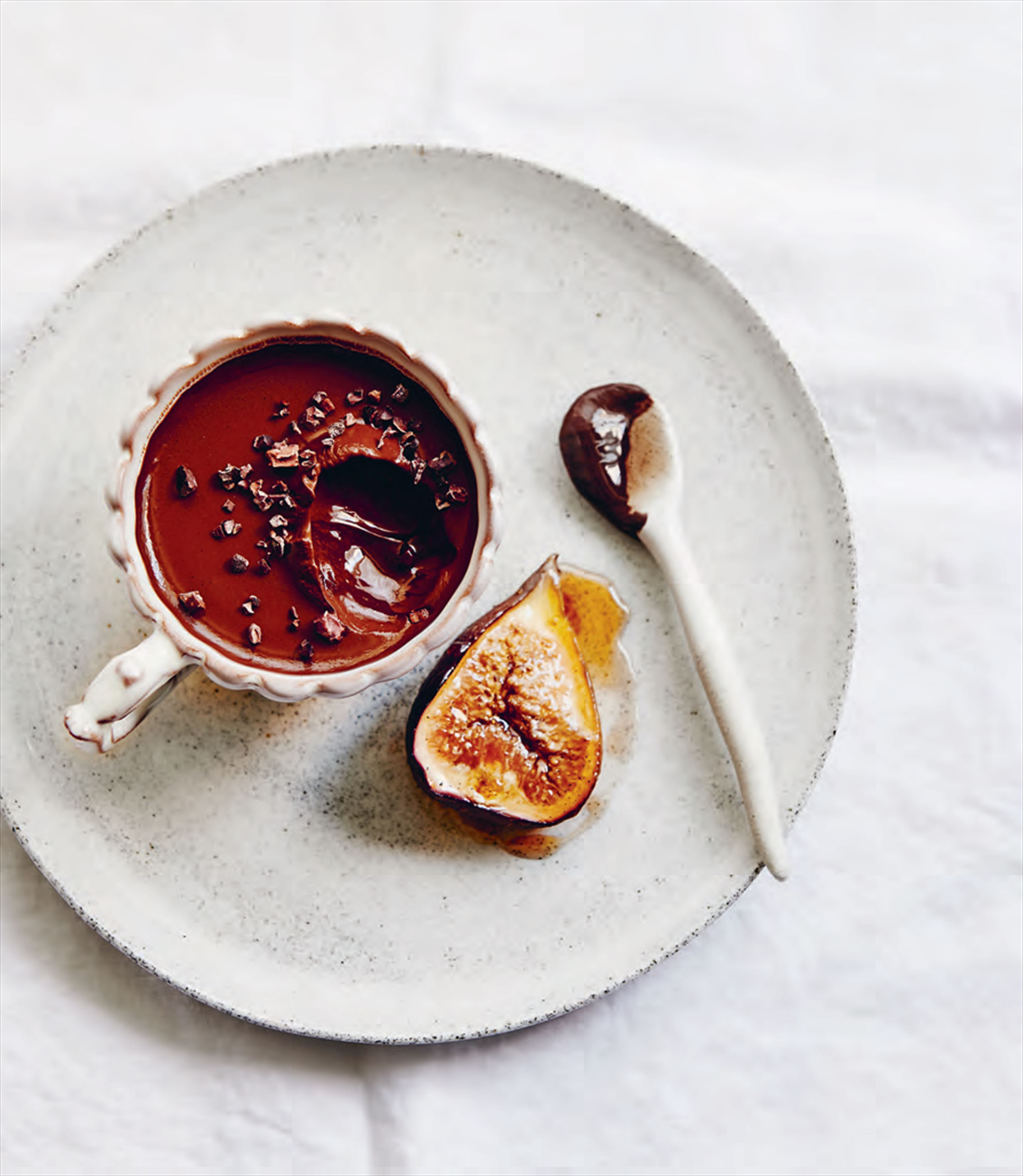 Mocha panna cotta with roasted figs