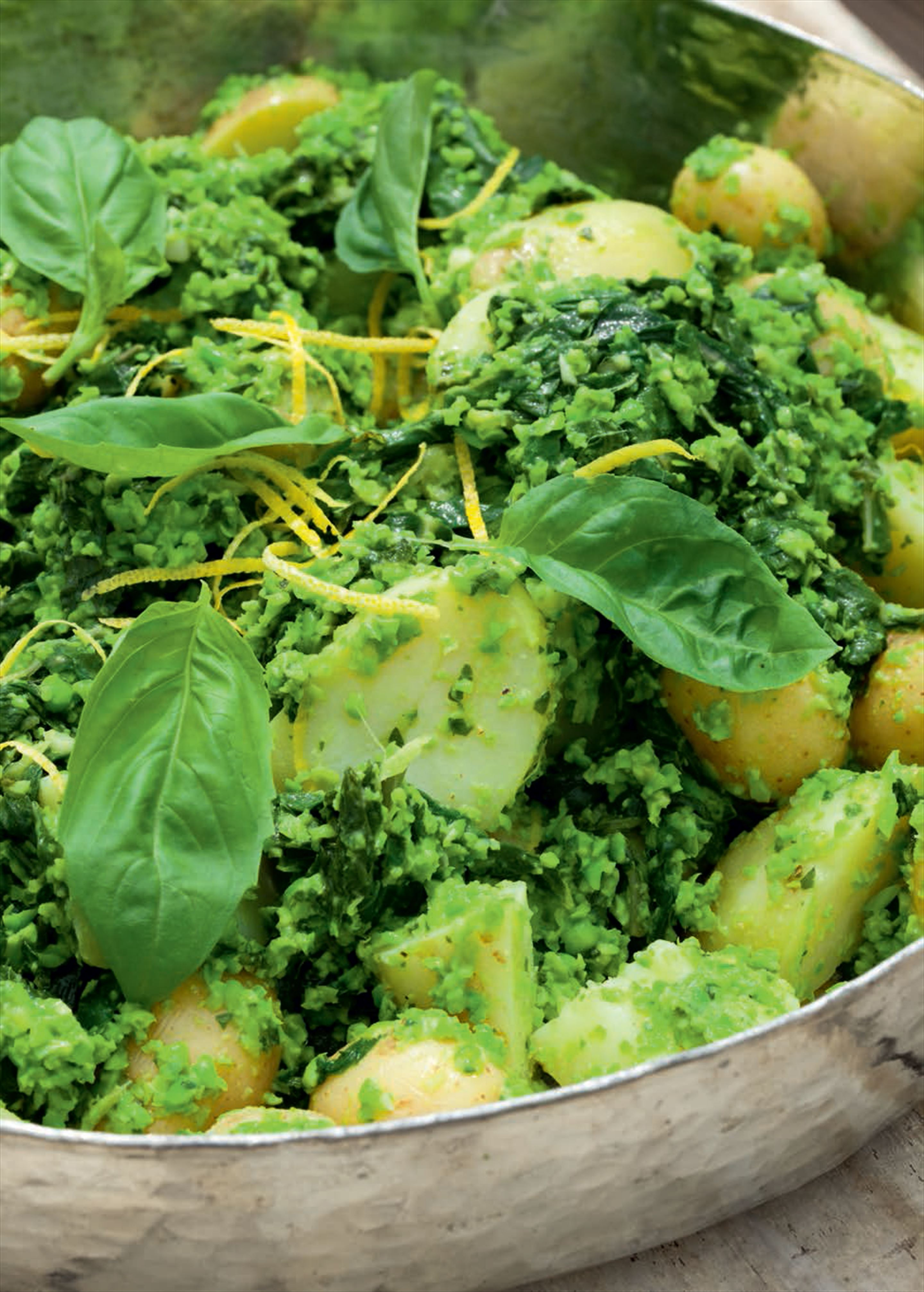 Potato and chard salad with pea pesto