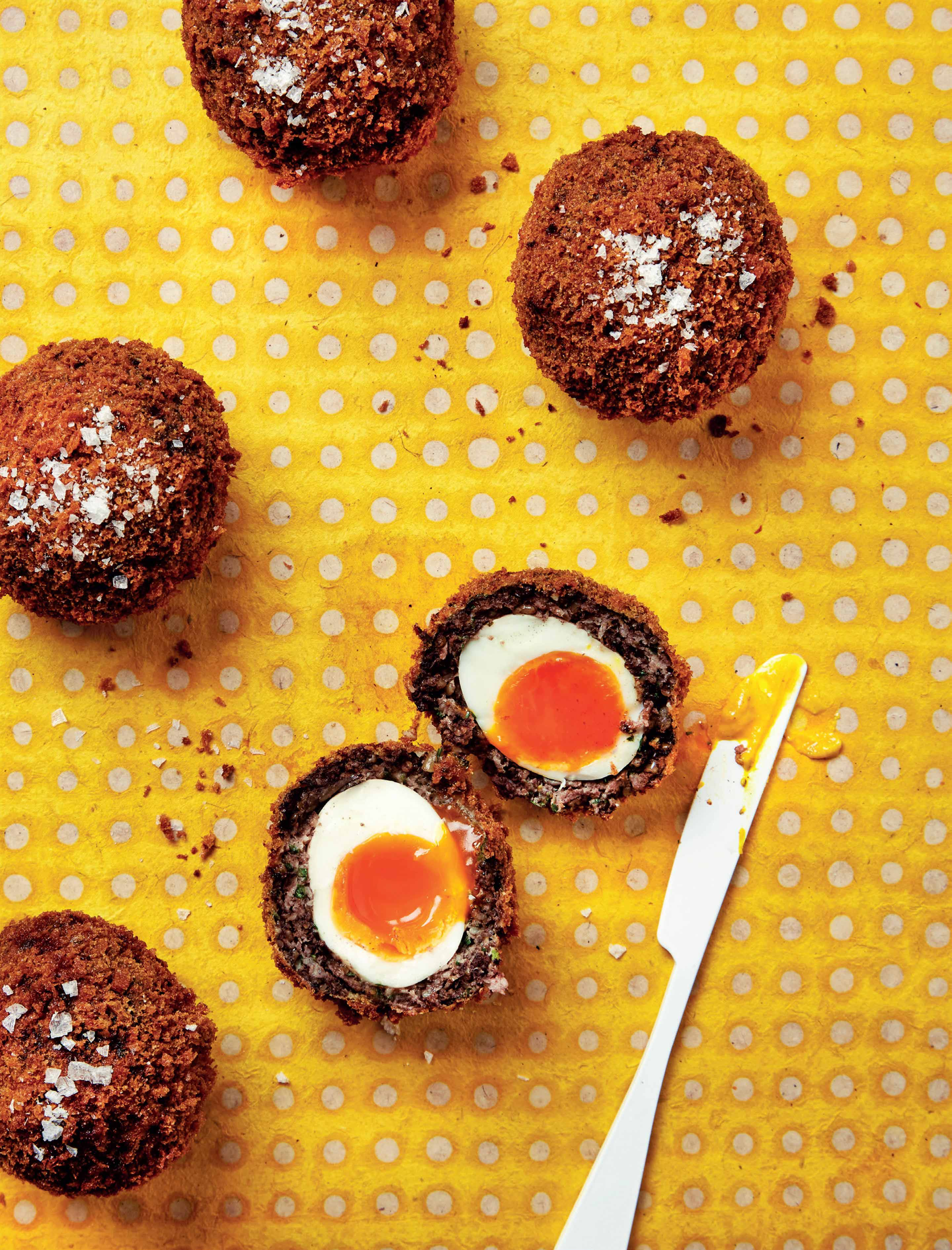 Black pudding scotch eggs