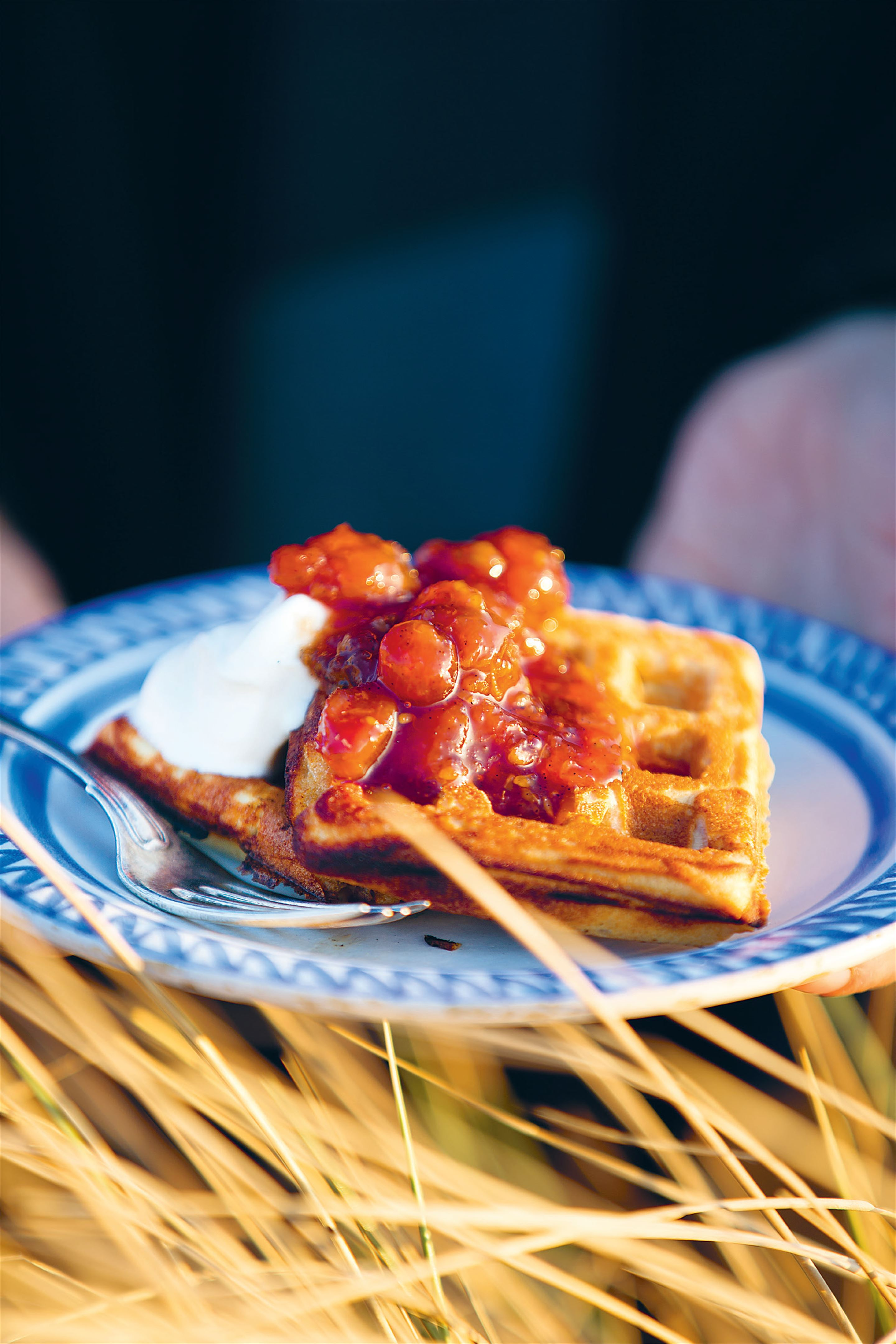 Waffles with red gooseberry jam and crème fraîche