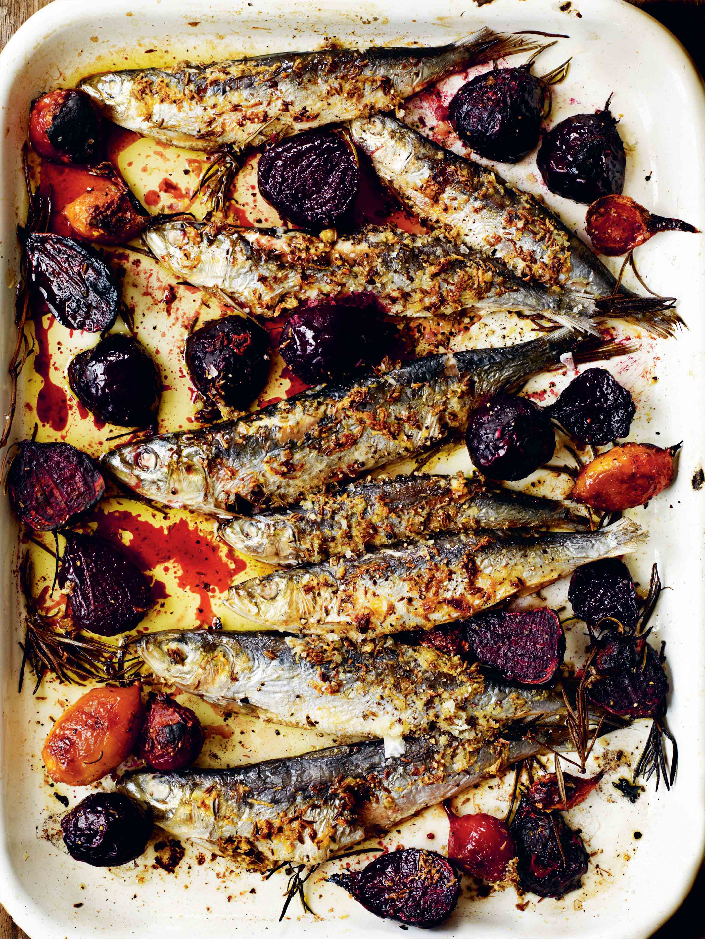 Grilled sardines with beetroot, cumin & rosemary