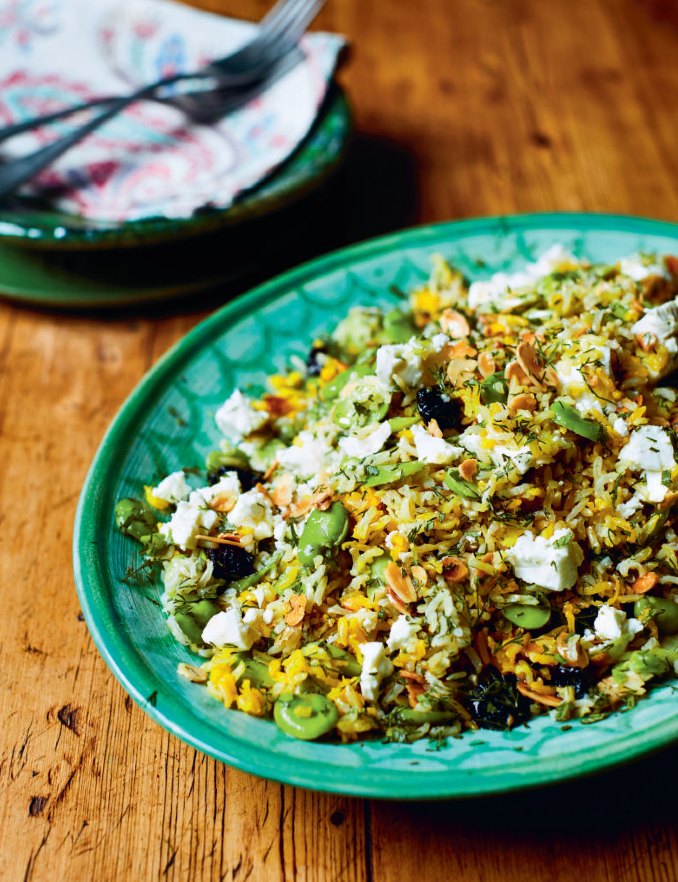 Broad bean, sour cherry and rice salad