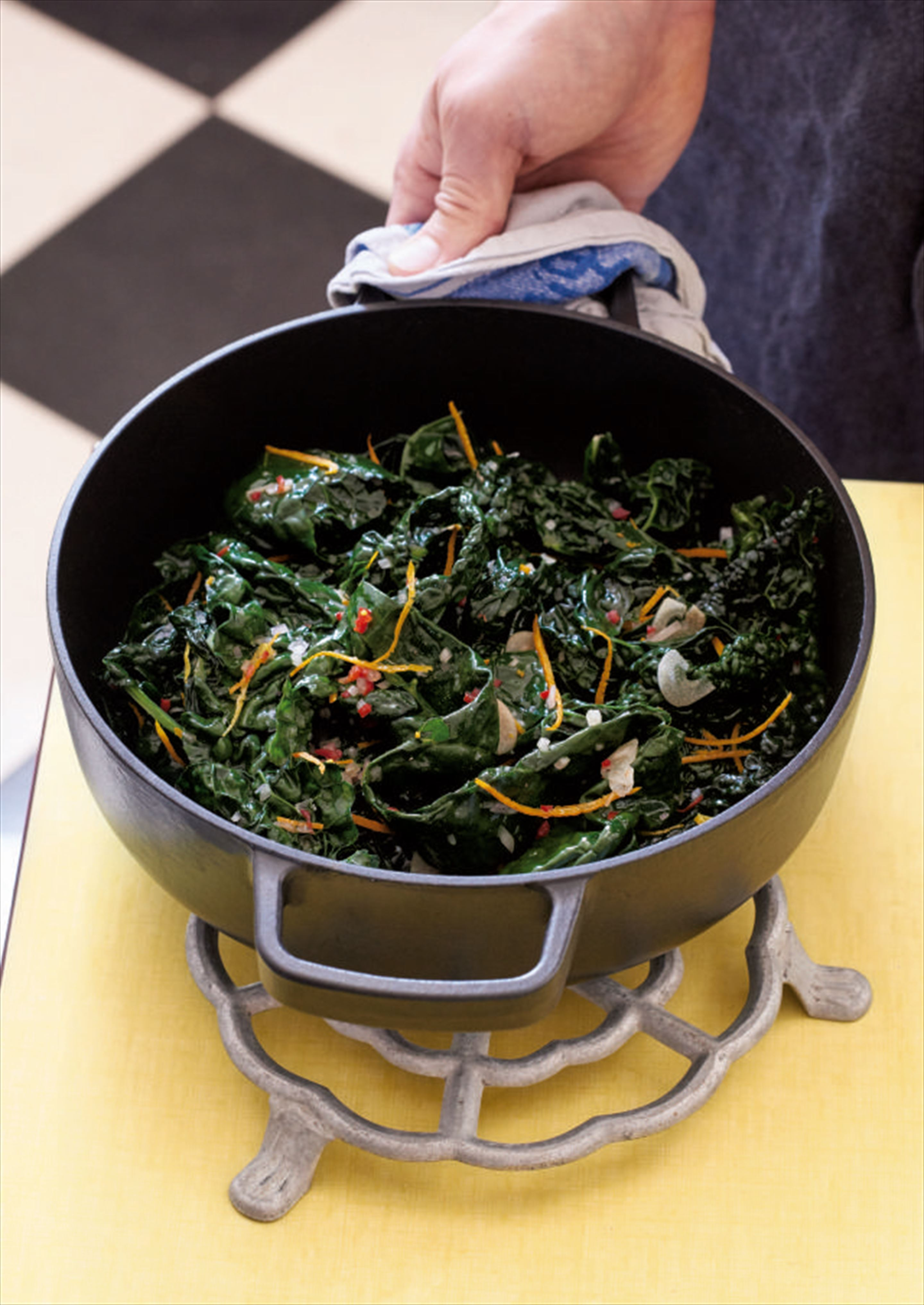Cavolo nero with garlic, chilli and orange