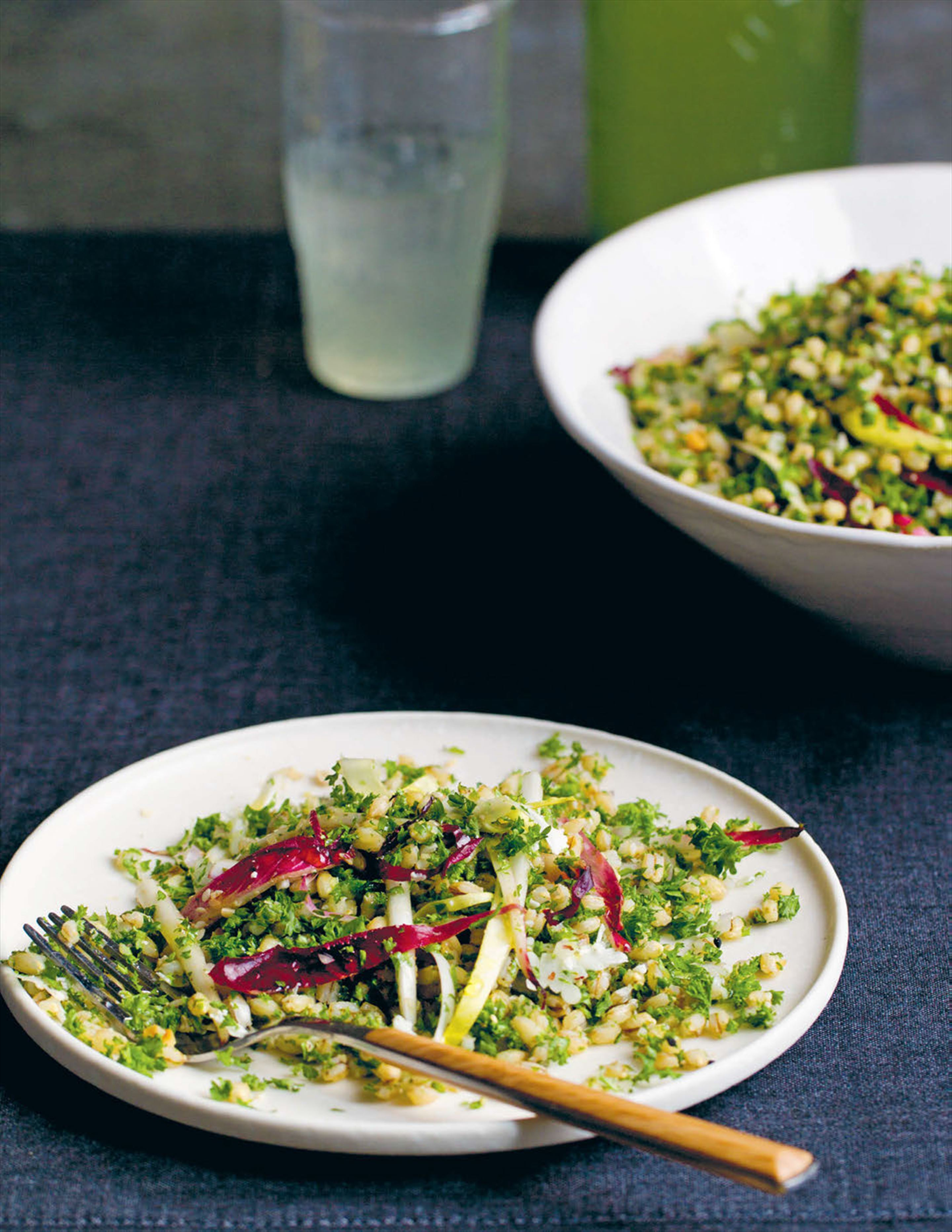 Pearl barley tabouleh and lemon barley water