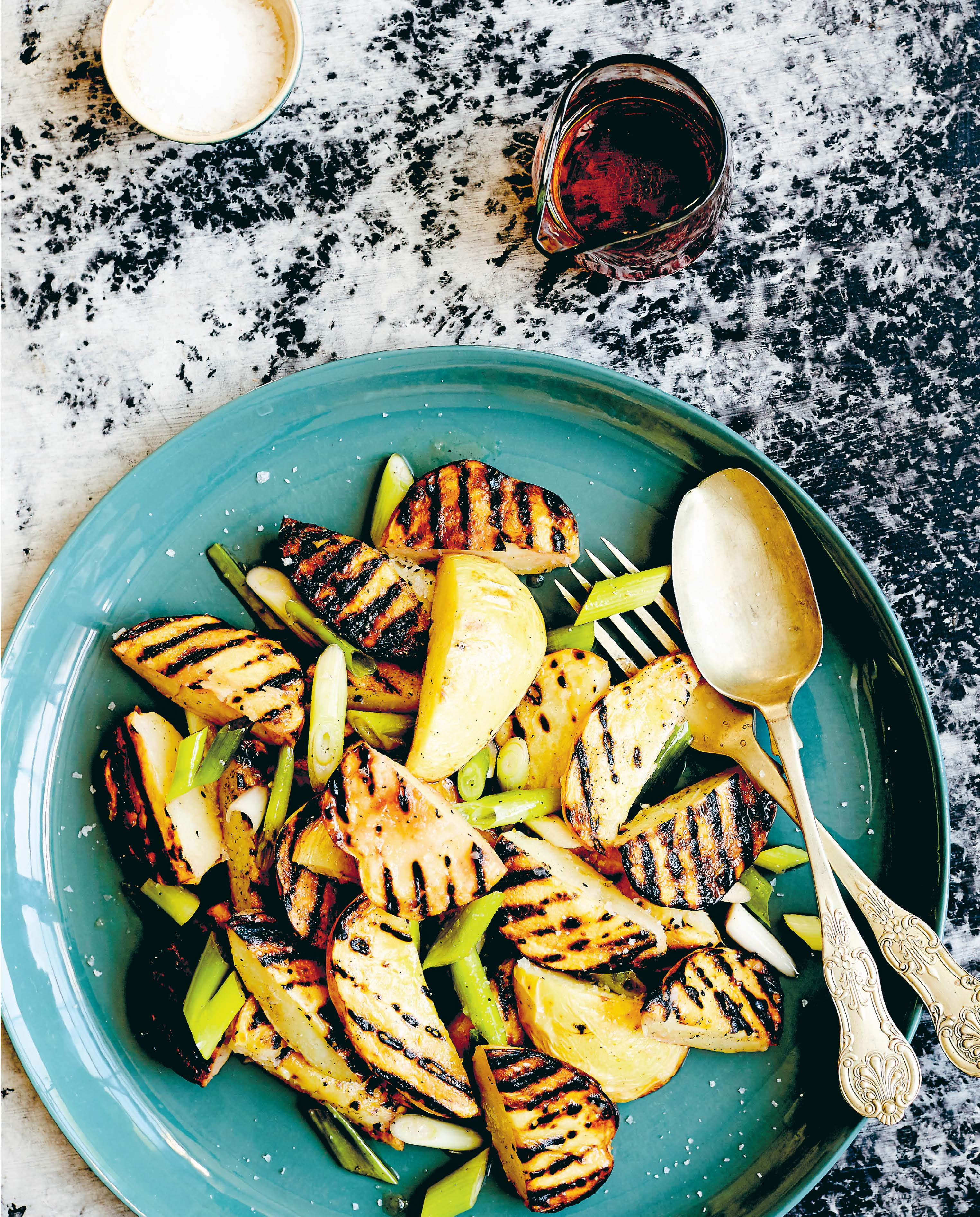 Grilled potato and spring onion salad