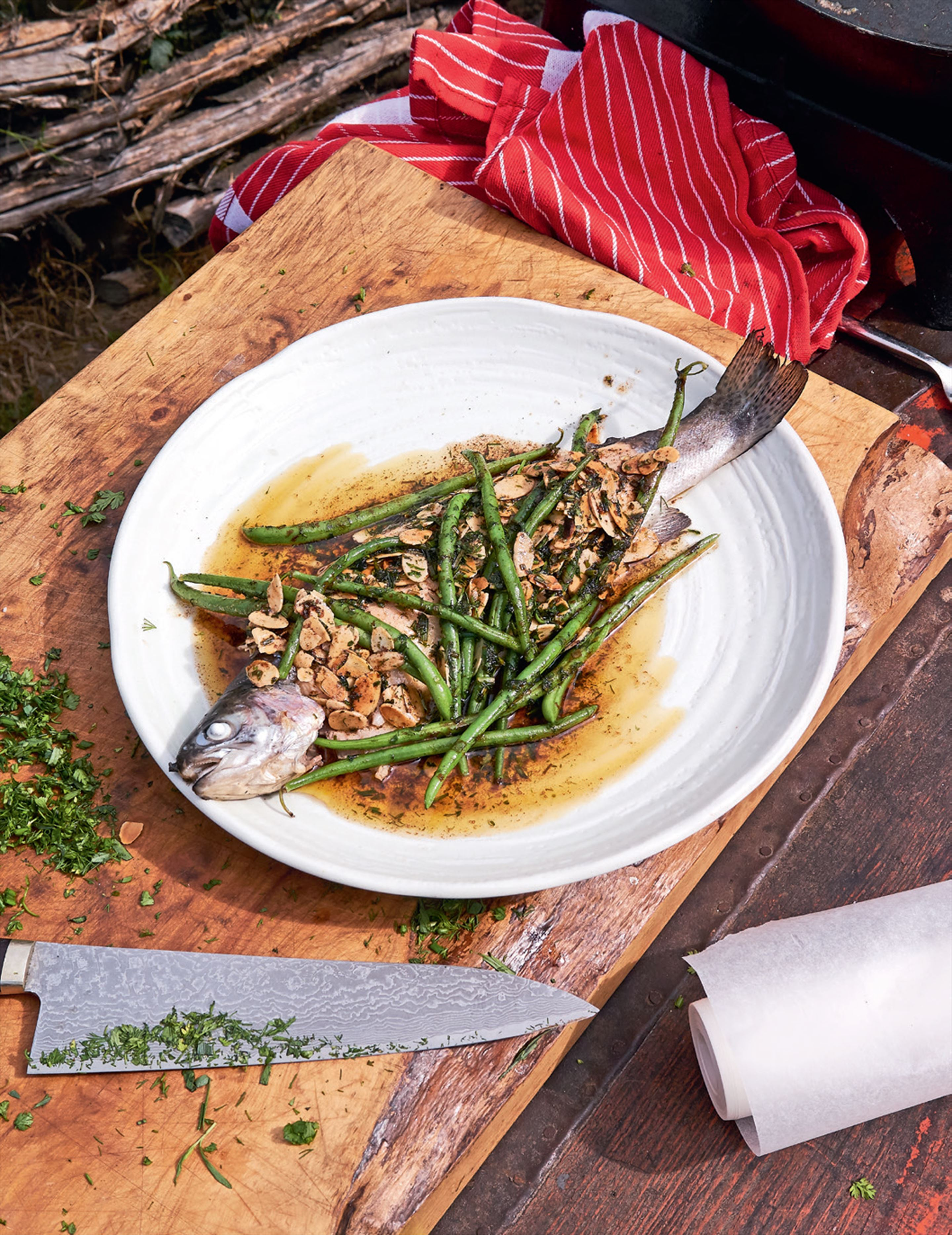 Whole trout with almonds & green beans