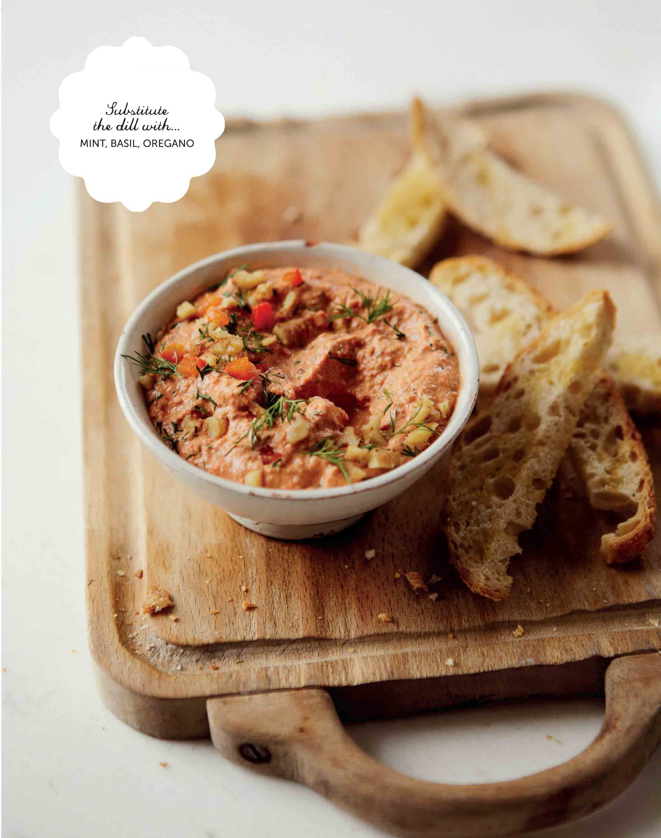 Dill and roasted red pepper dip