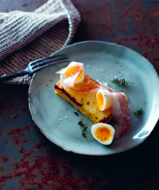 Pancetta with smoked provolone, grilled polenta and quail eggs