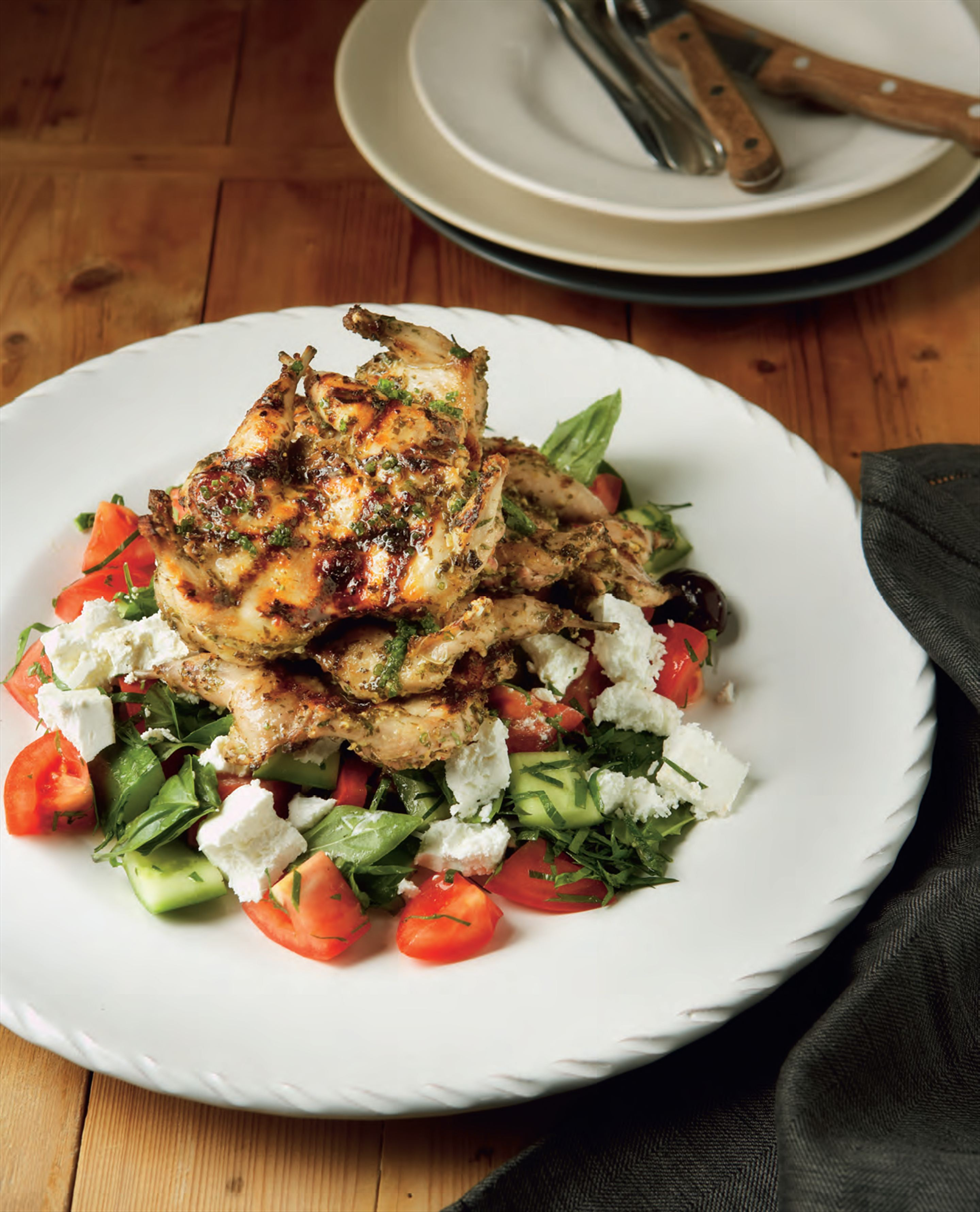 Barbecued quail, Greek–style