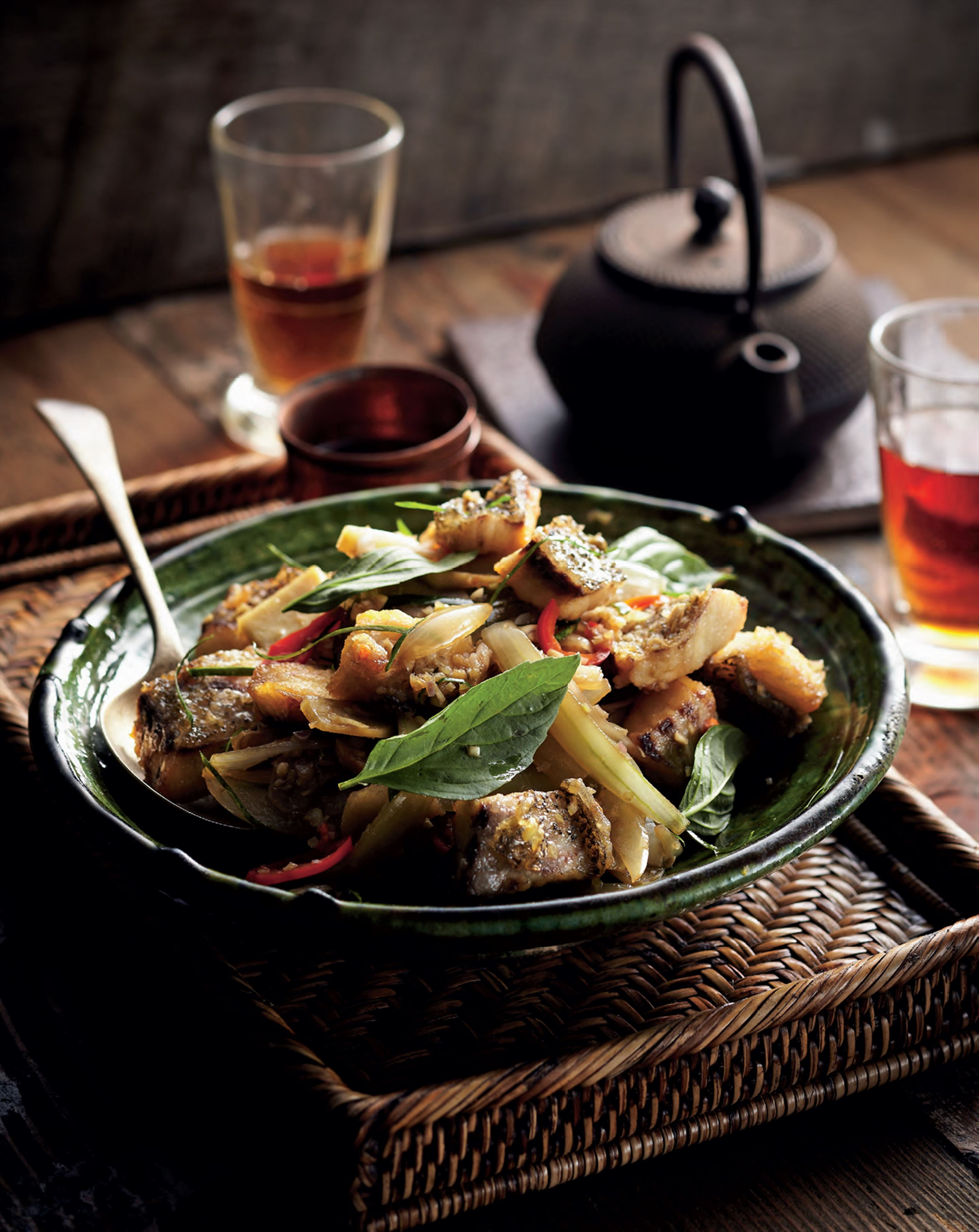 Wok-tossed catfish with galangal and green peppercorns