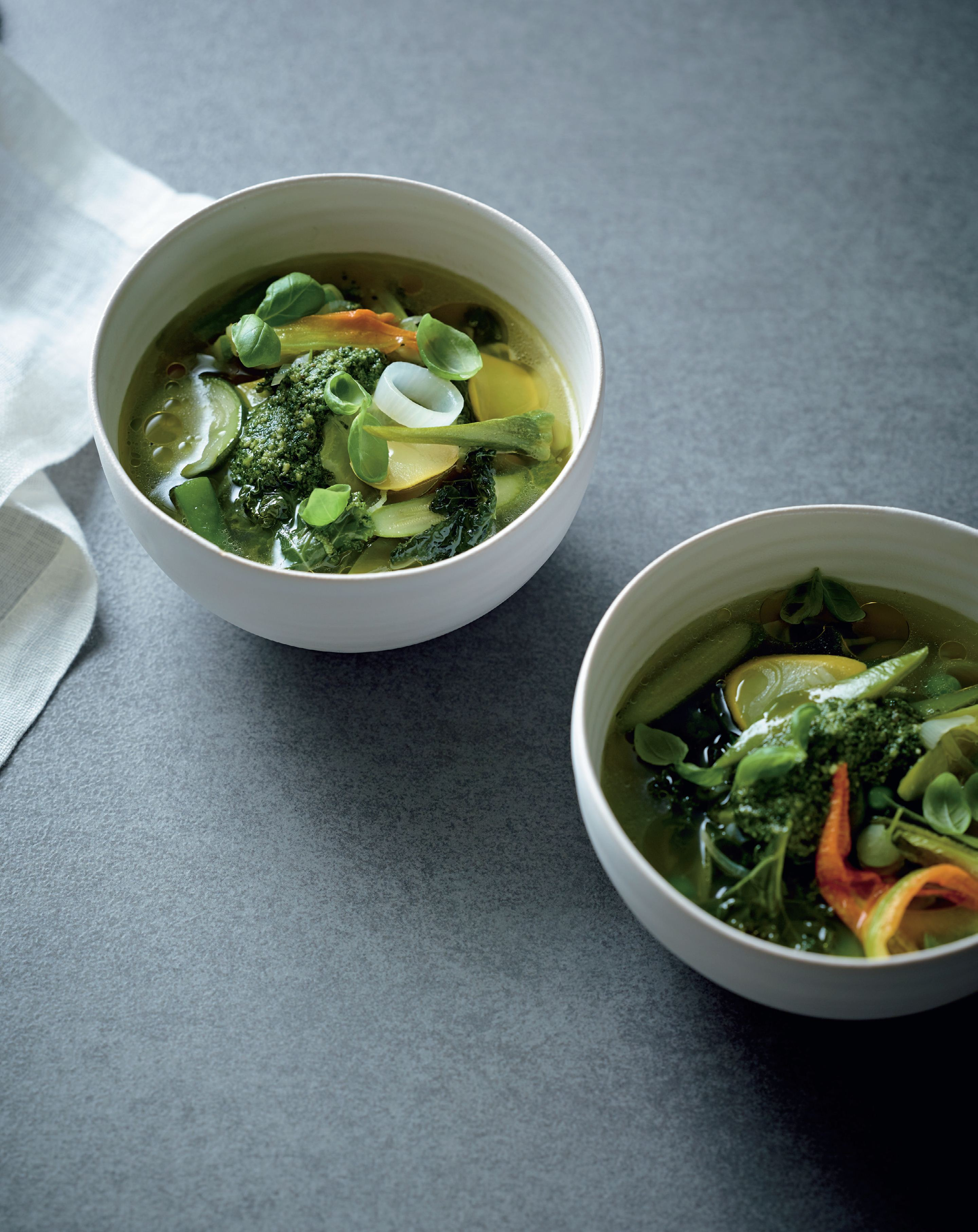 Green vegetable soup, basil pesto