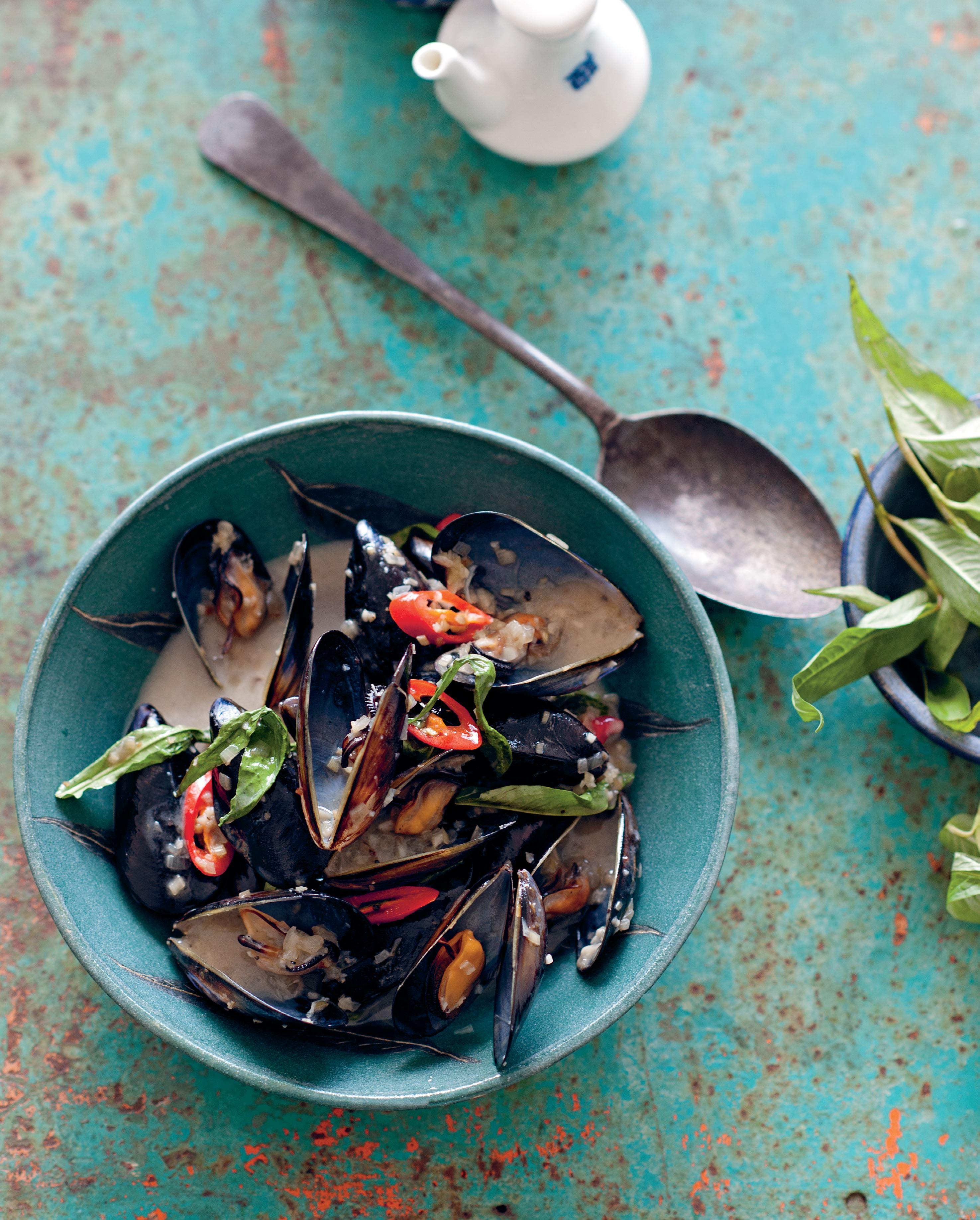 Ha Long Bay mussels cooked in lemongrass-scented coconut milk