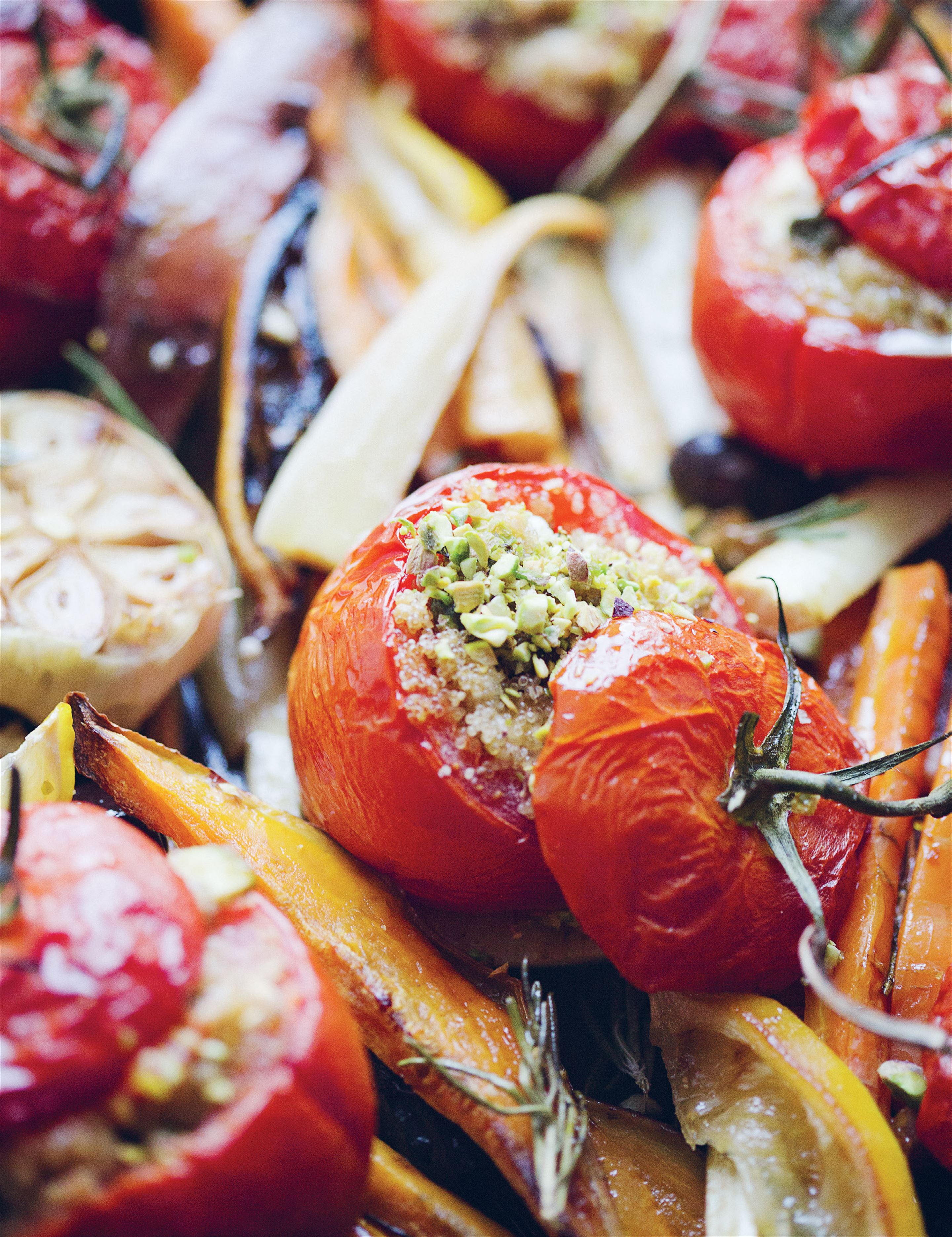 Amaranth and halloumi-stuffed tomatoes