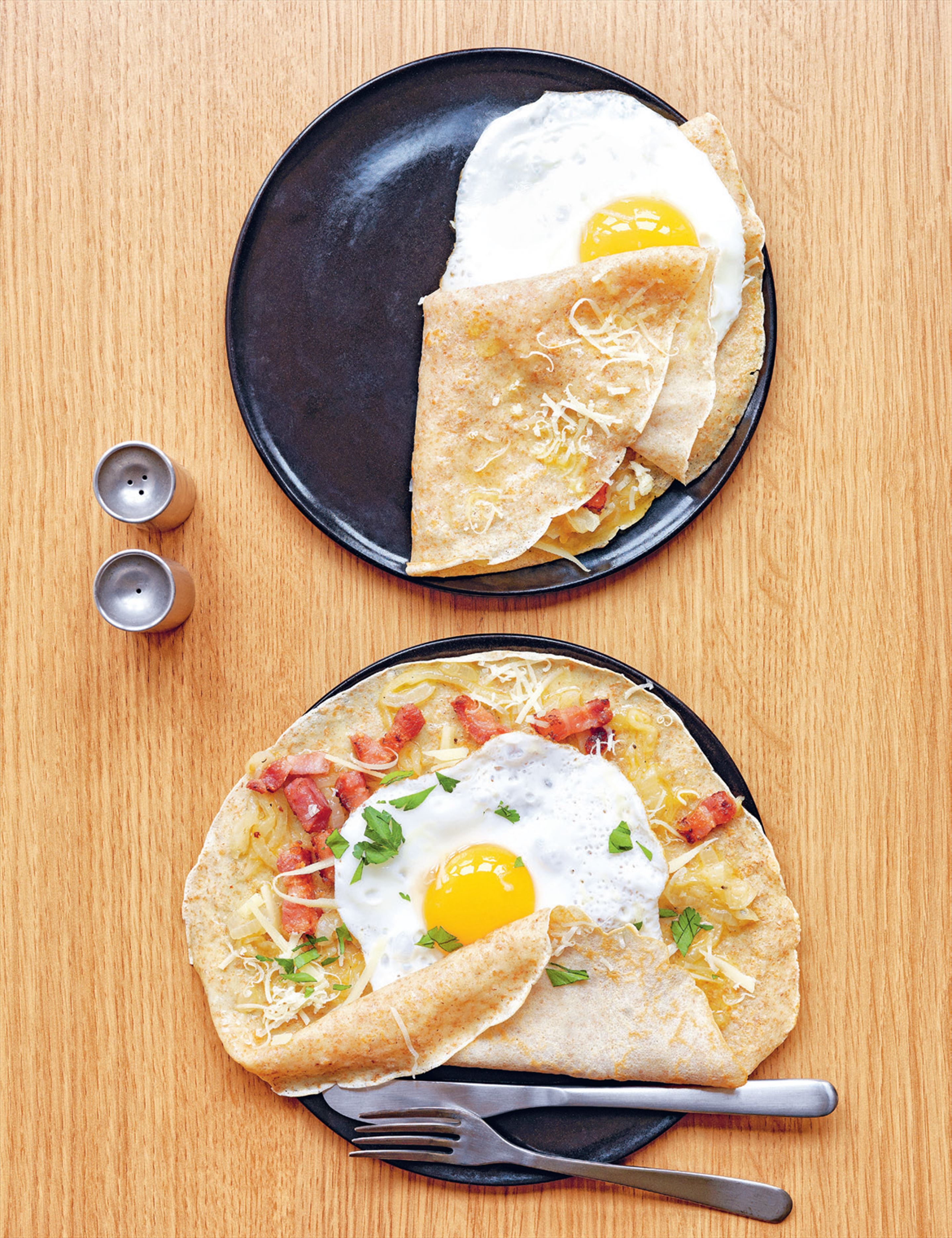 Buckwheat galettes with bacon, egg, onions & gruyère