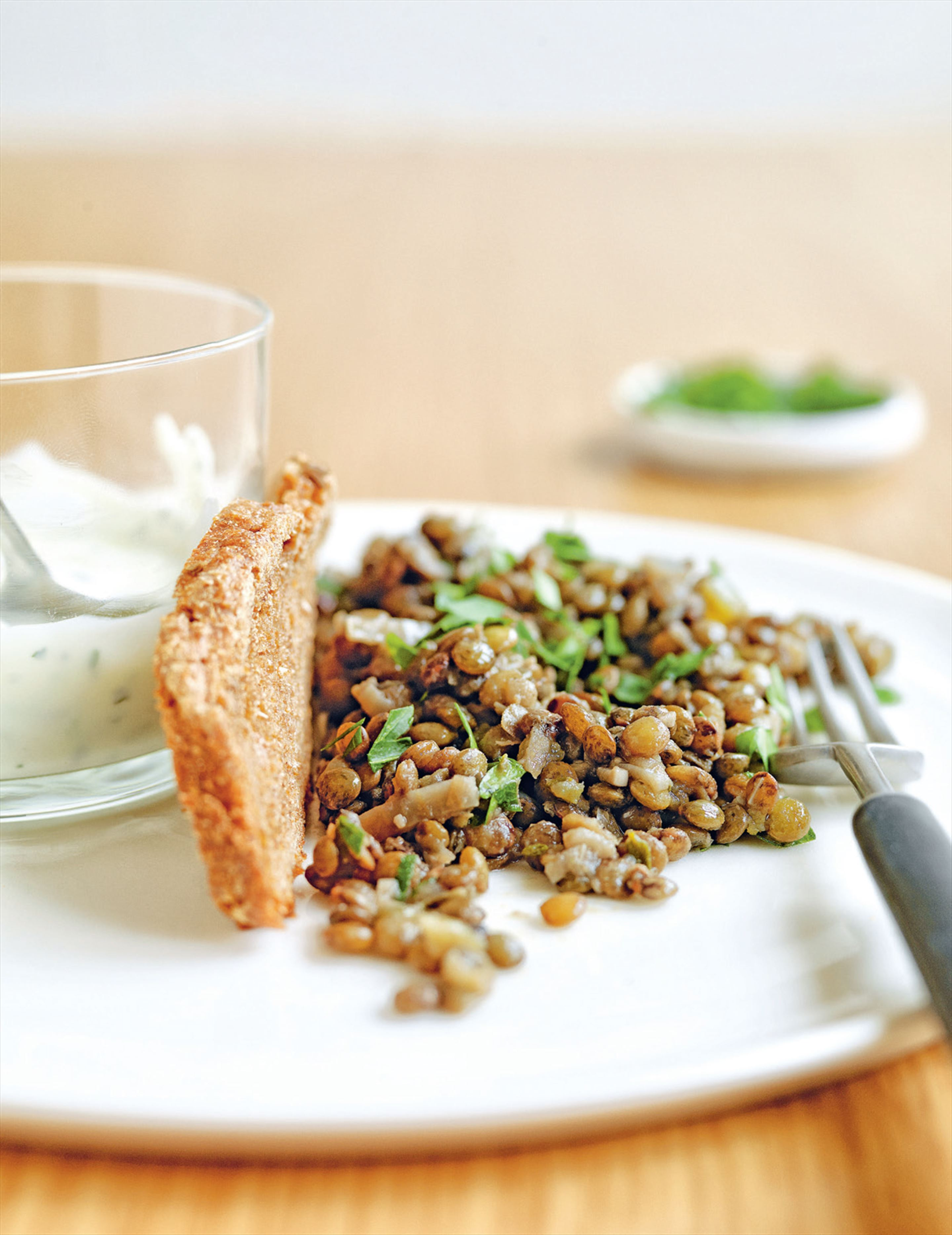 Cervelle de canut with lentil salad