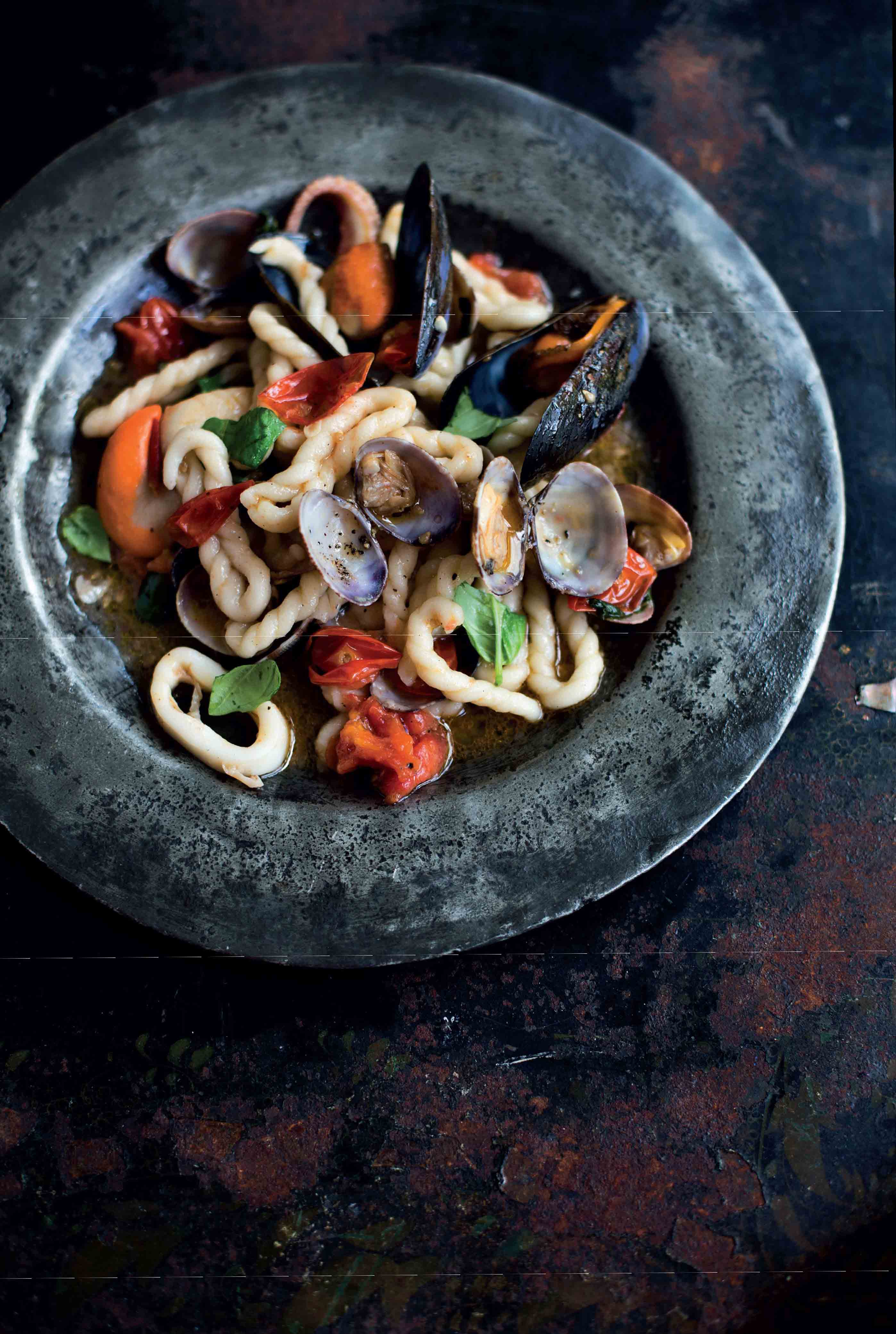 Sardinian spiral ring pasta with seafood