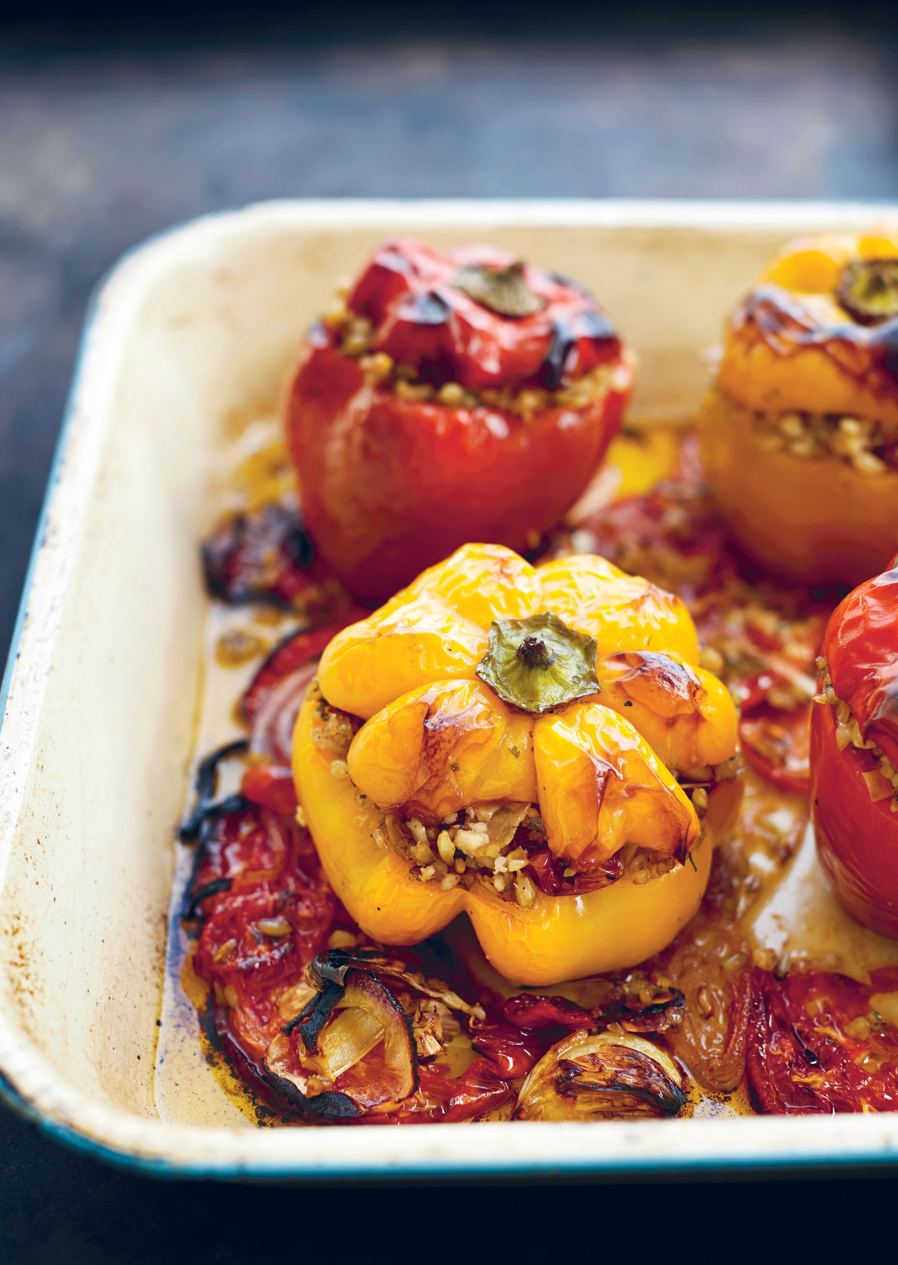 Freekeh-stuffed peppers