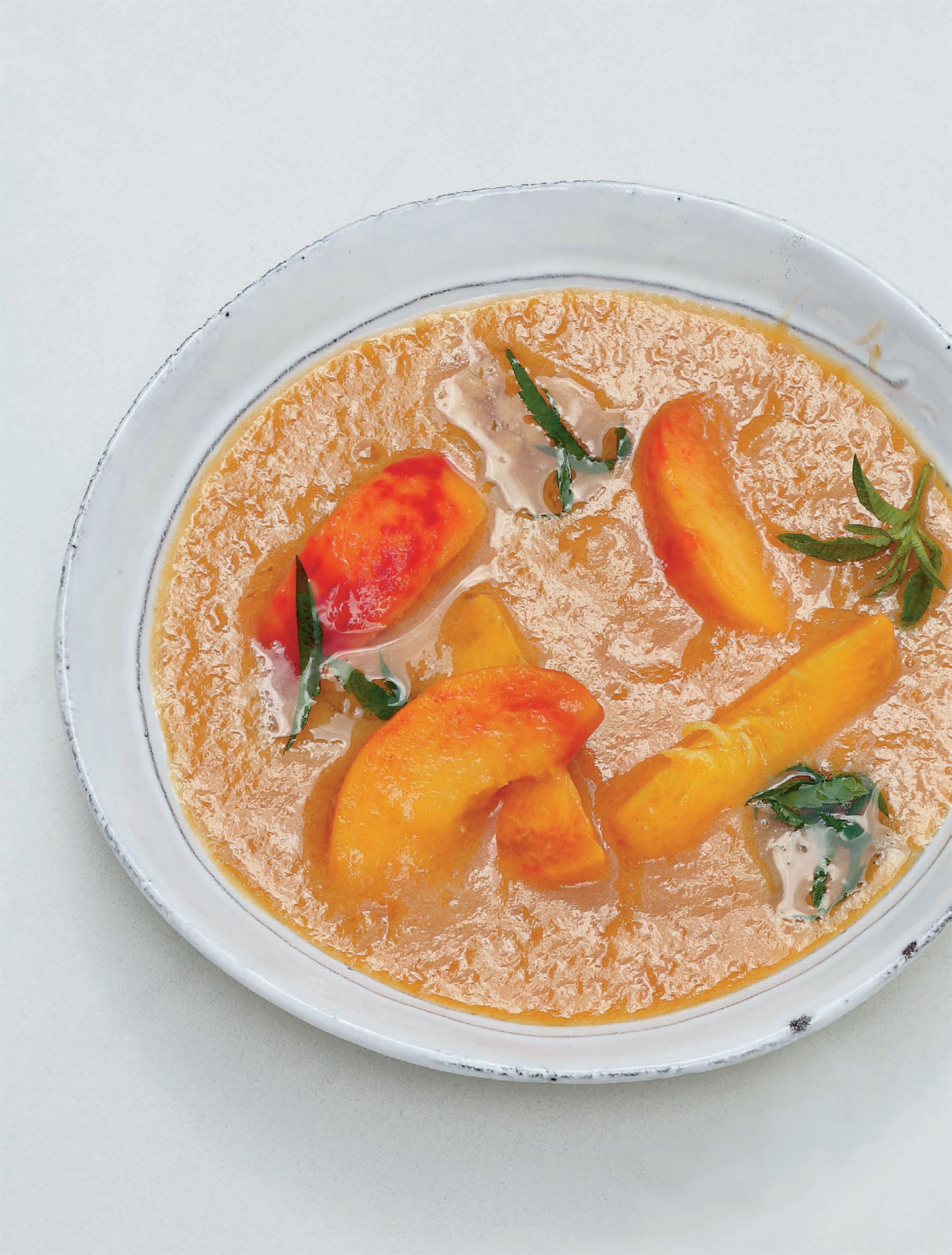 Chilled peach soup with verbena