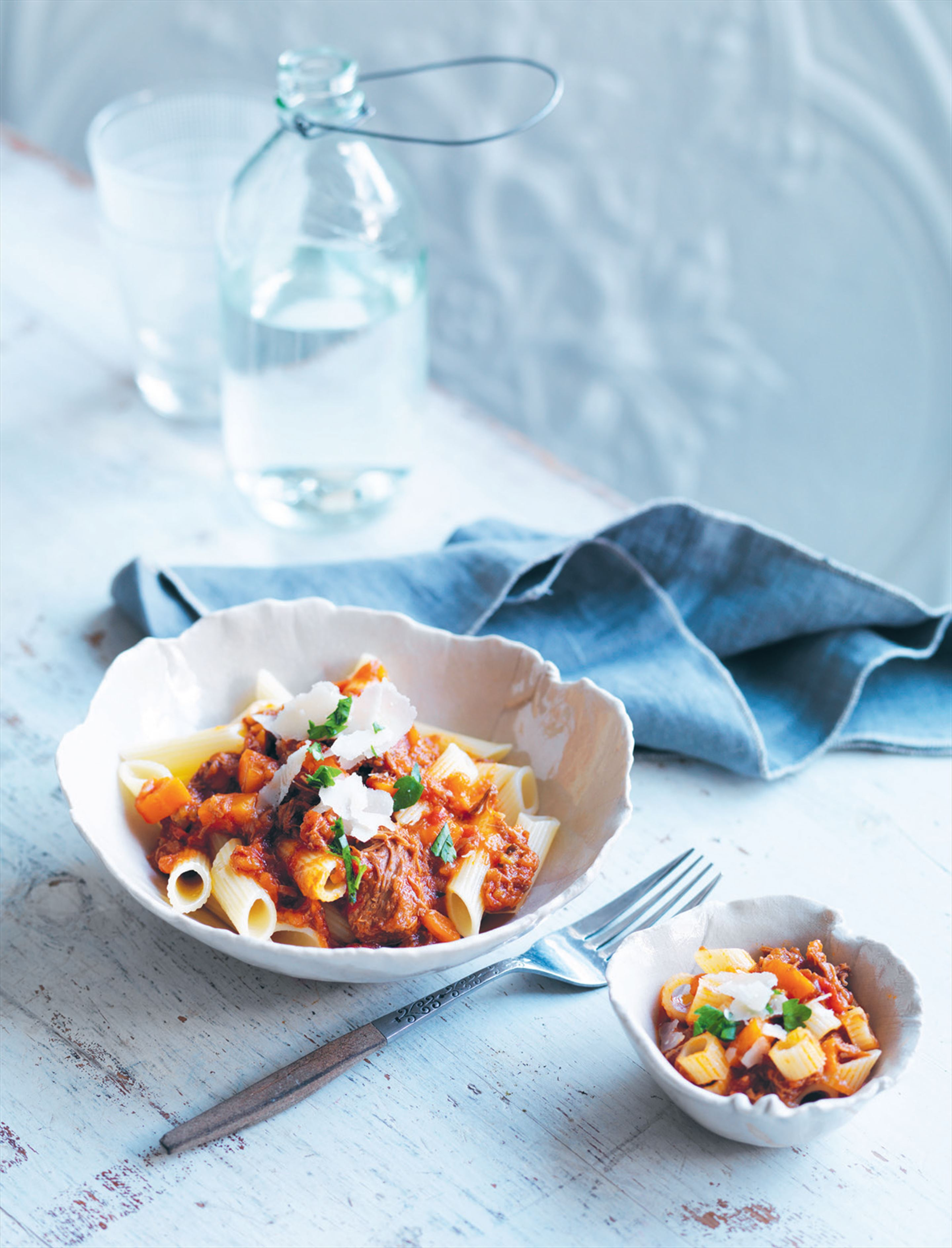 Slow-cooked beef ragu with penne
