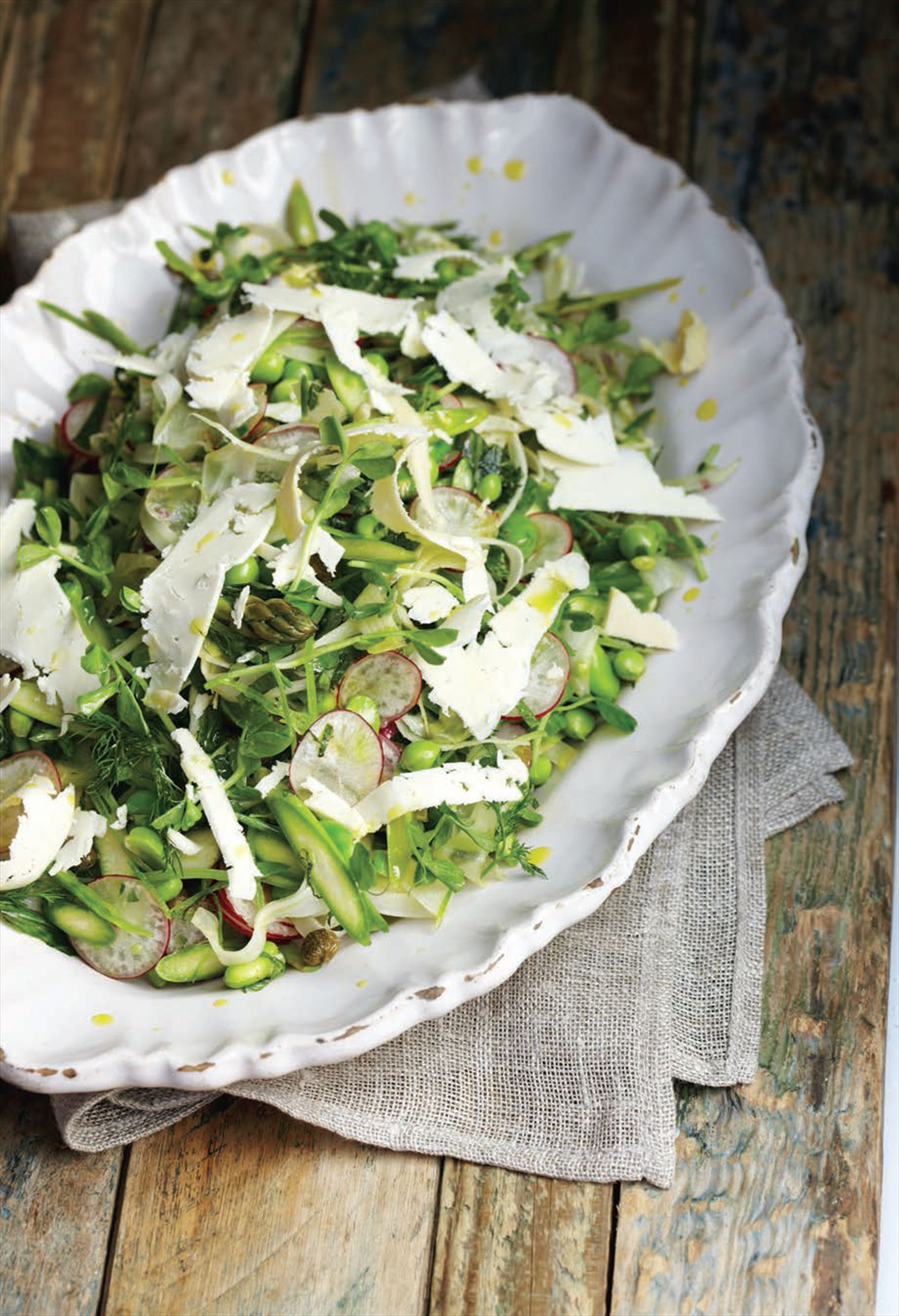 Crisp summer vegetable salad with shaved Caerphilly