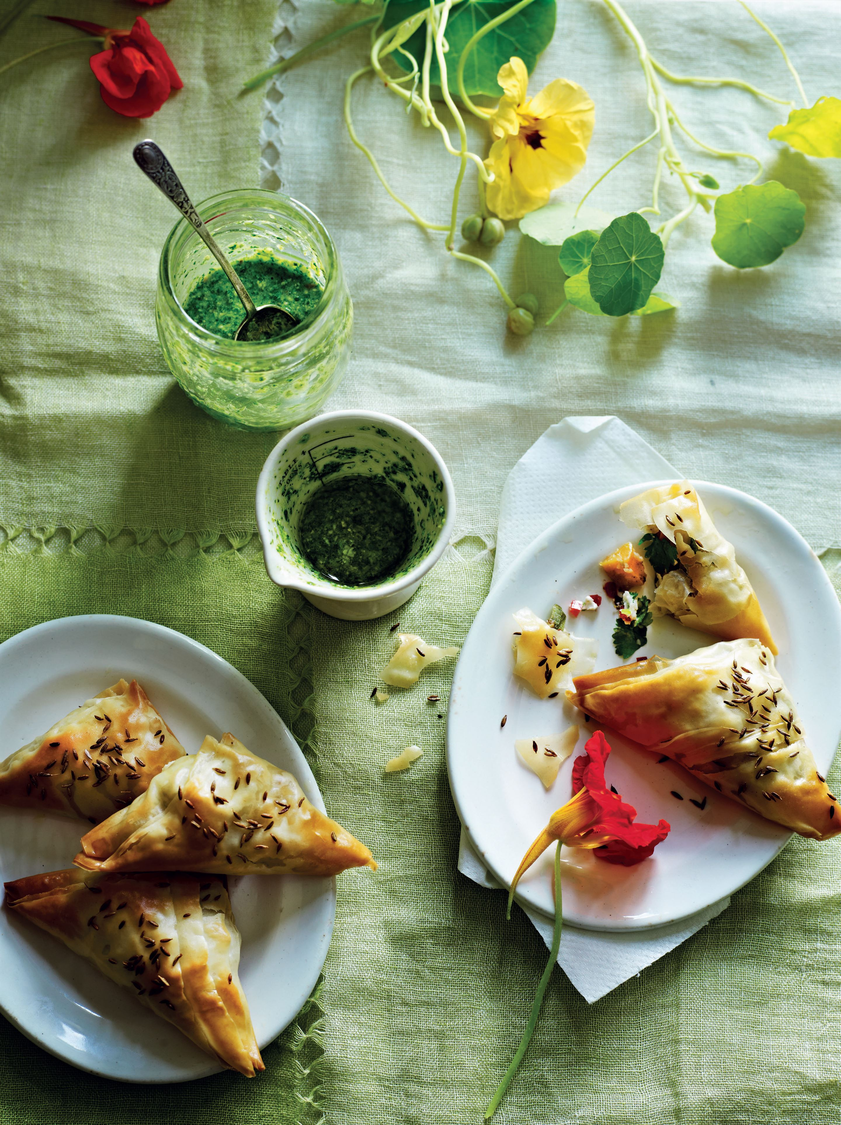 Sweet potato and goat's cheese samosas